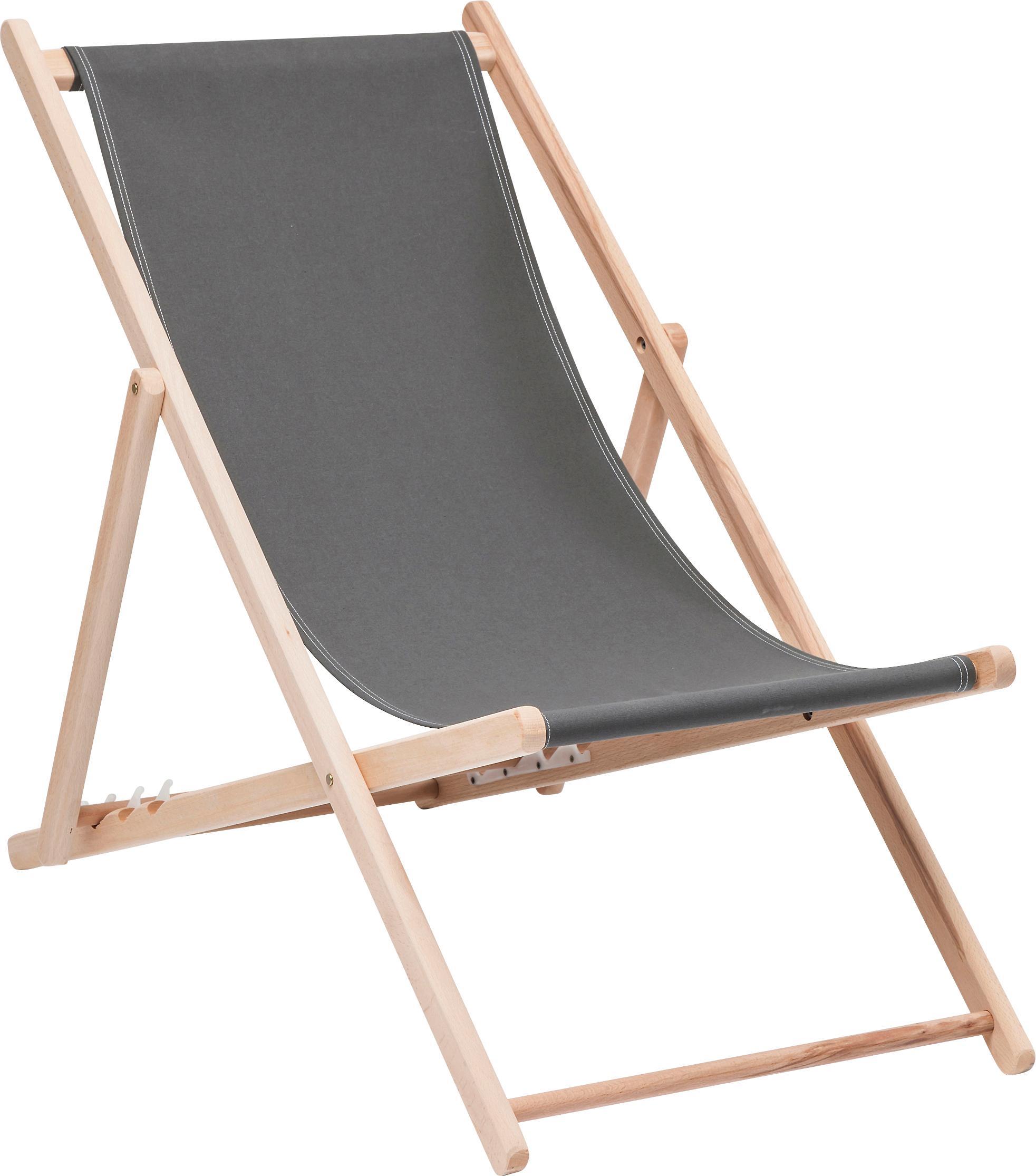 Składany leżak Hot Summer, Stelaż: drewno bukowe, Szary, drewno bukowe, S 96 x G 56 cm