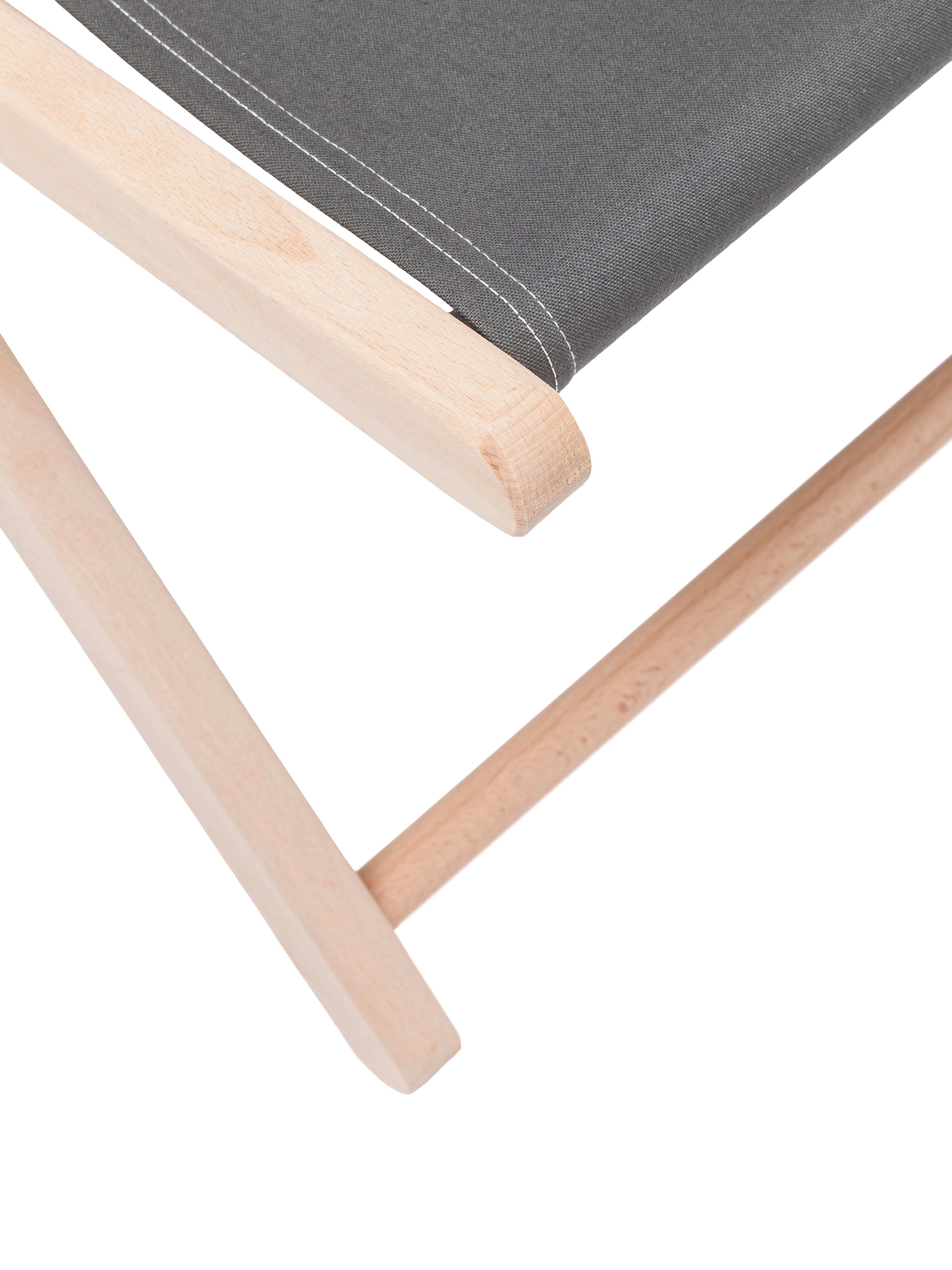 Klapbare ligstoel Hot Summer, Frame: beukenhout, Grijs, beukenhoutkleurig, B 96 x D 56 cm