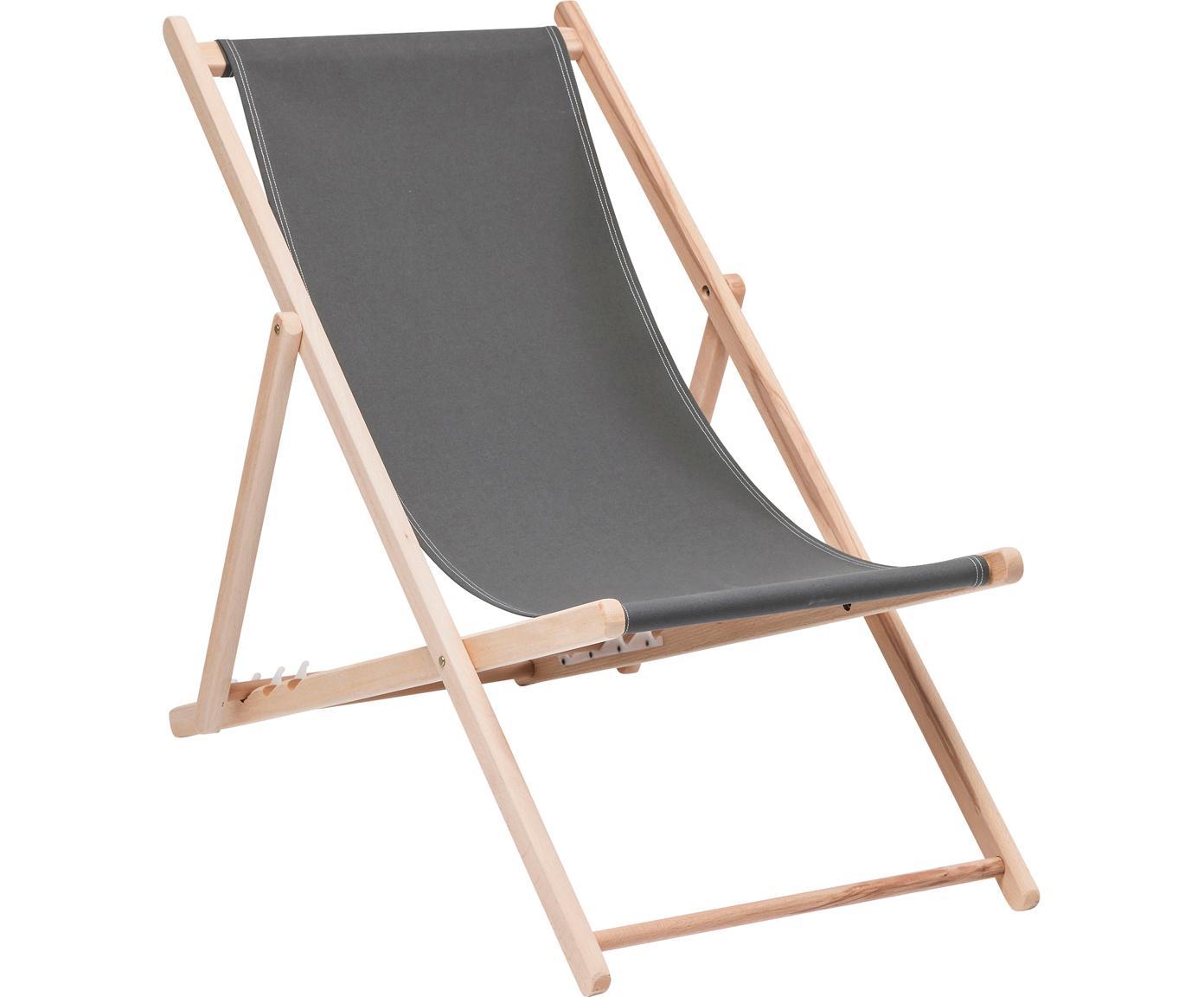 Sedia a sdraio pieghevole Hot Summer, Struttura: legno di faggio, Grigio, legno di faggio, Larg. 96 x Prof. 56 cm