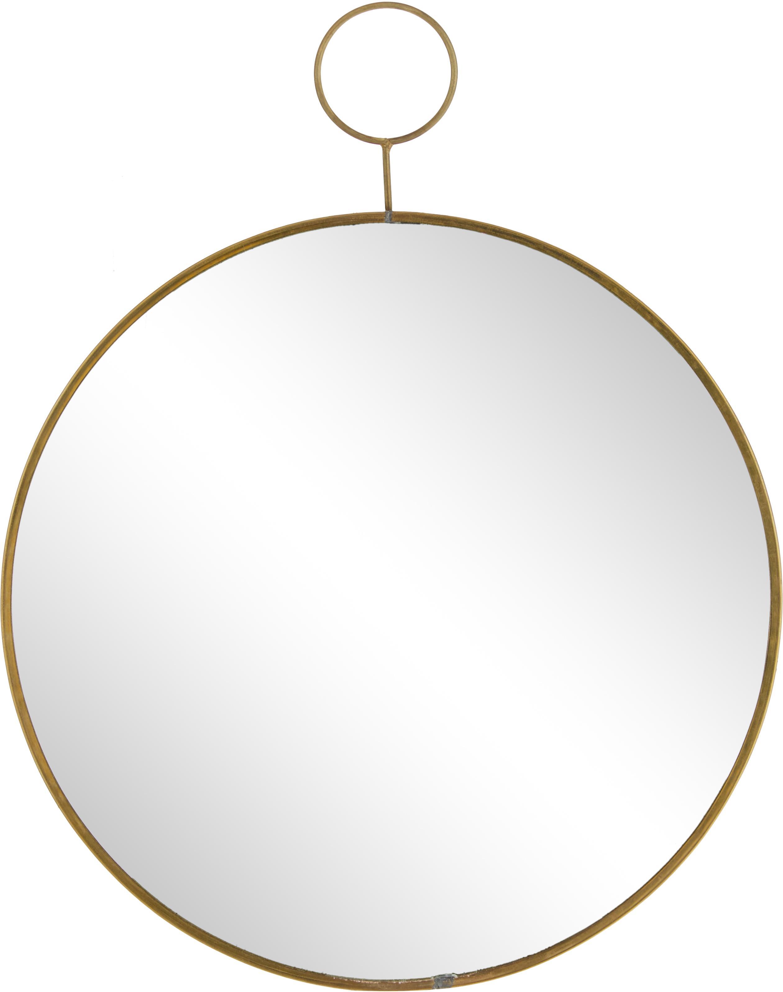 Ronde wandspiegel Loop met geborstelde messing lijst, Rand: metaal met bewust aangebr, Rand: messingkleurig. Spiegelvlak: spiegelglas, Ø 32 cm