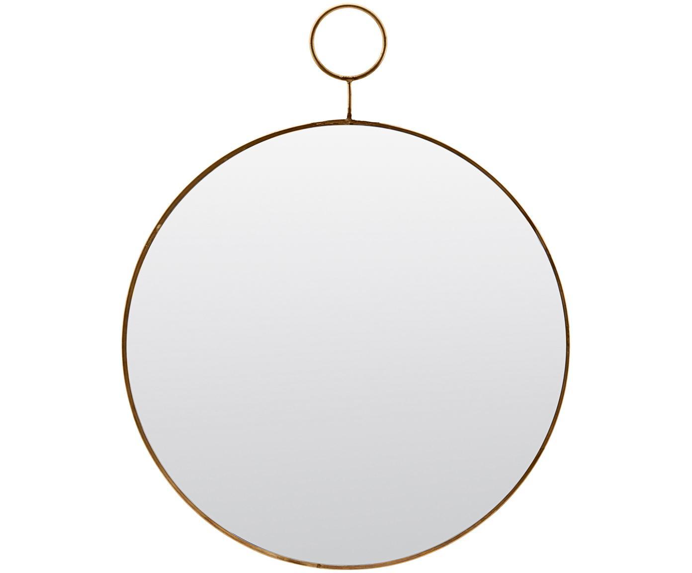 Runder Wandspiegel Loop mit gebürstetem Messingrahmen, Rand: Metall mit gewollten Gebr, Spiegelfläche: Spiegelglas, Rand: Messingfarben<br>Spiegelfläche: Spiegelglas, Ø 32 cm