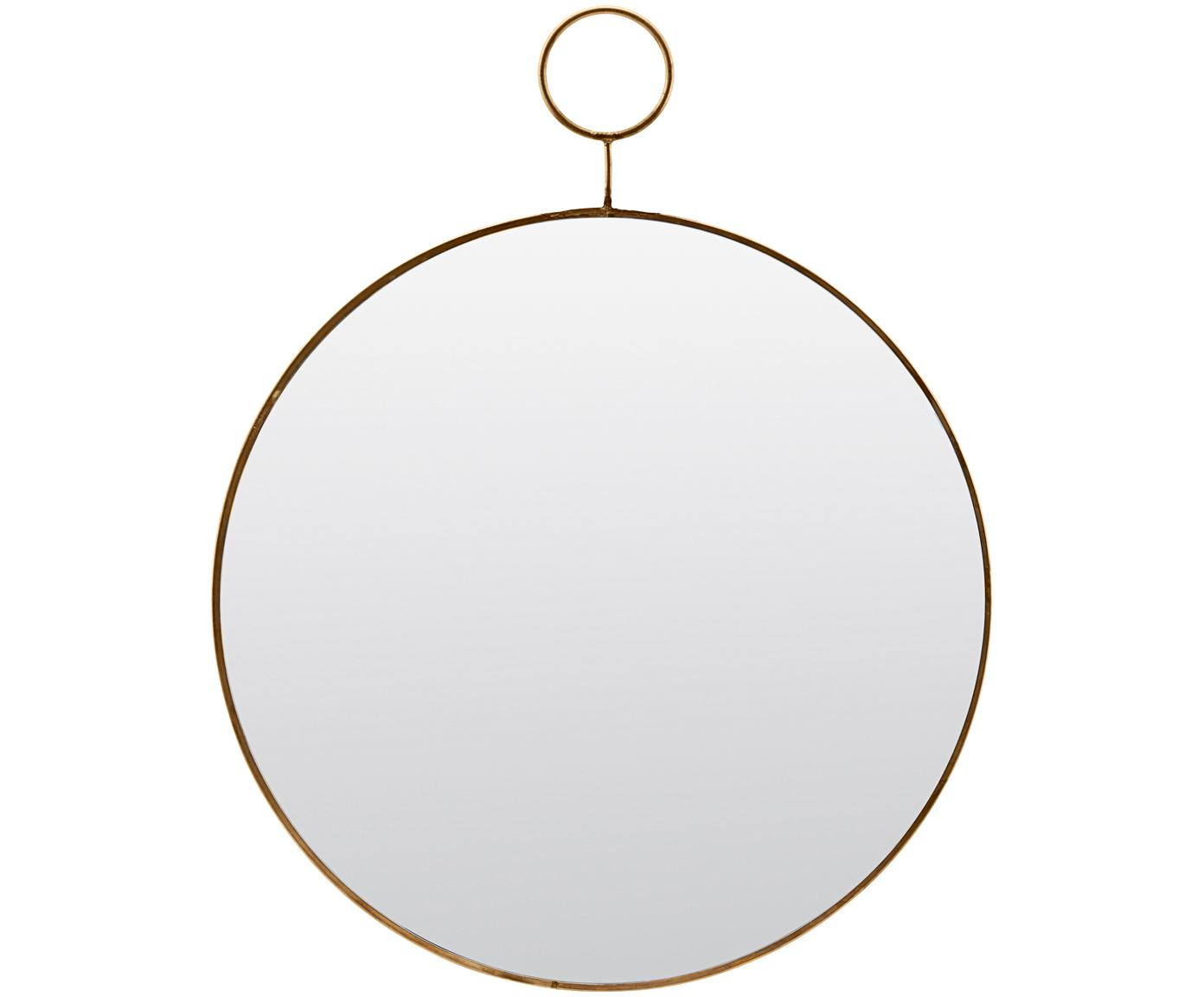 Specchio da parete Loop, Bordo: metallo con tracce intenz, Superficie dello specchio: vetro a specchio, Bordo: ottone, Superficie dello specchio: lastra di vetro, Ø 32 cm