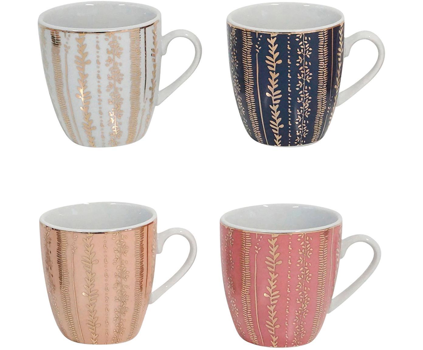 Kaffeetassen Veg-Gold mit Golddetails, 4er-Set, Porzellan, Rosa, Blau, Ø 7 x H 8 cm