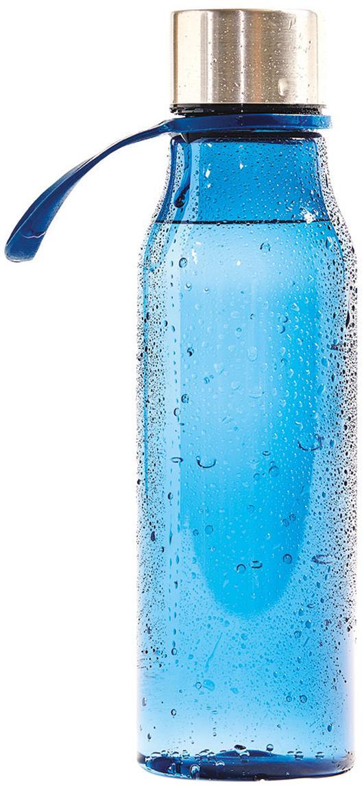 Kleine To Go Trinkflasche Lean, Flasche: Tritan (Kunststoff), BPA-, Blau, Stahl, 570 ml