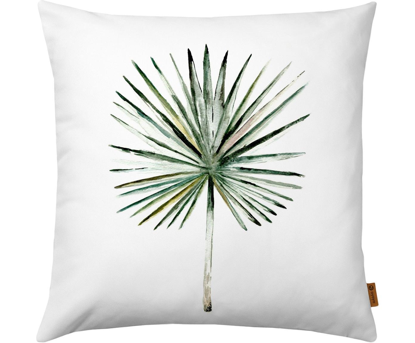 Kissenhülle Fan mit Palmenzweig, 100% Polyester, Weiß, Grüntöne, 40 x 40 cm
