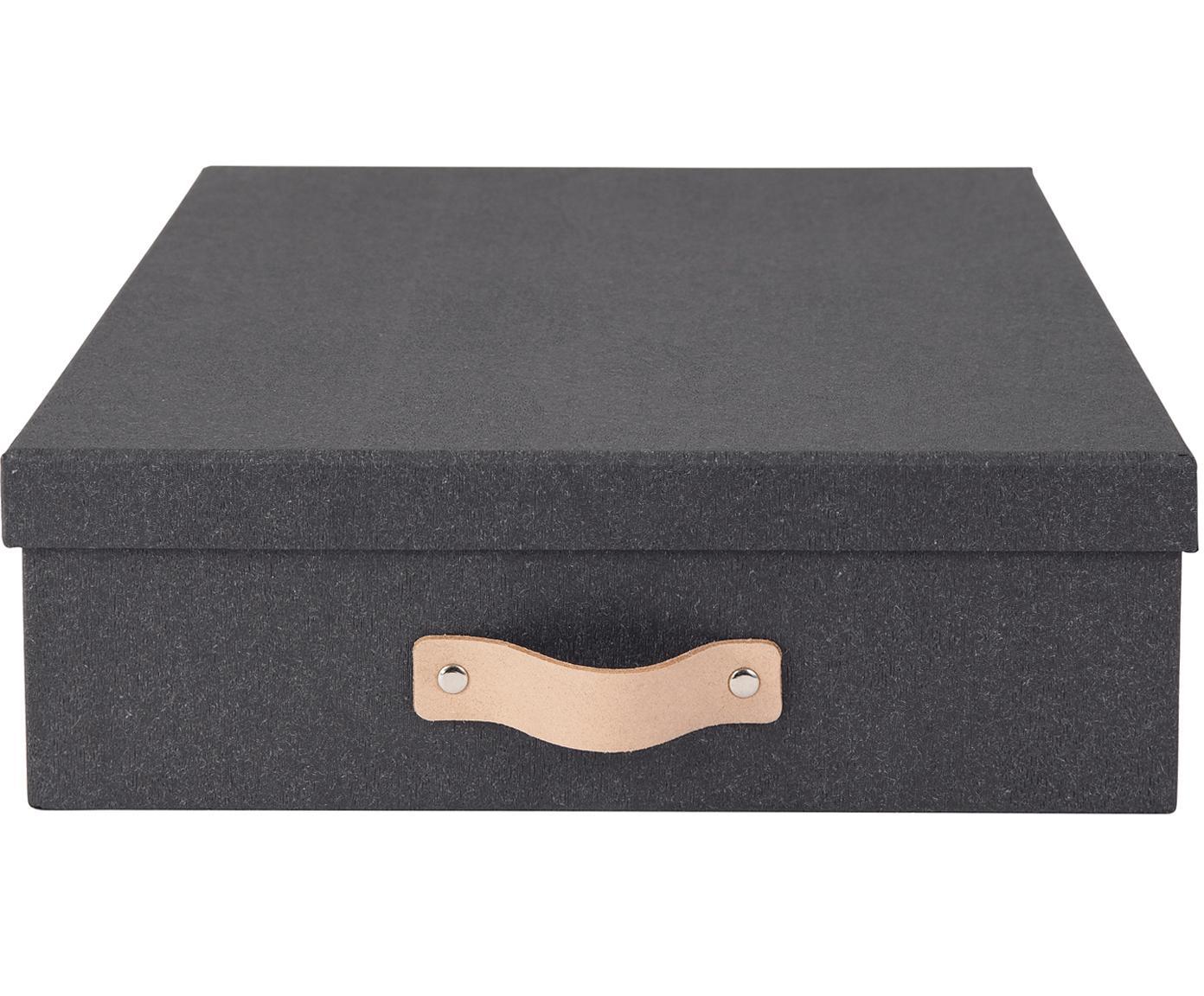 Caja Oskar II, Asa: cuero, Exterior: negro Interior: negro Asa: beige, An 26 x Al 9 cm