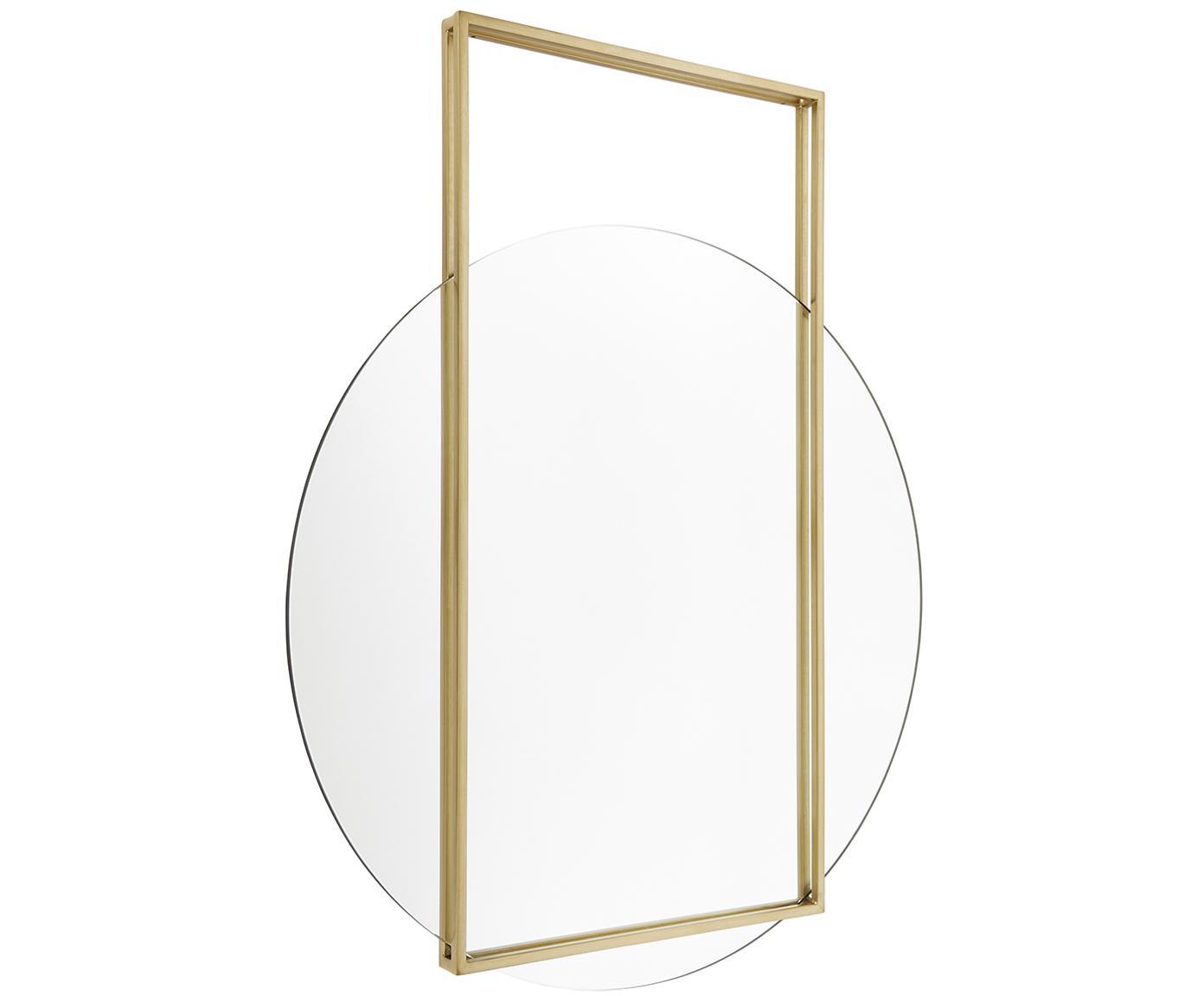 Okrągłe lustro ścienne z kwadratową ramą Ashley, Odcienie złotego, matowy, S 81 x W 100 cm