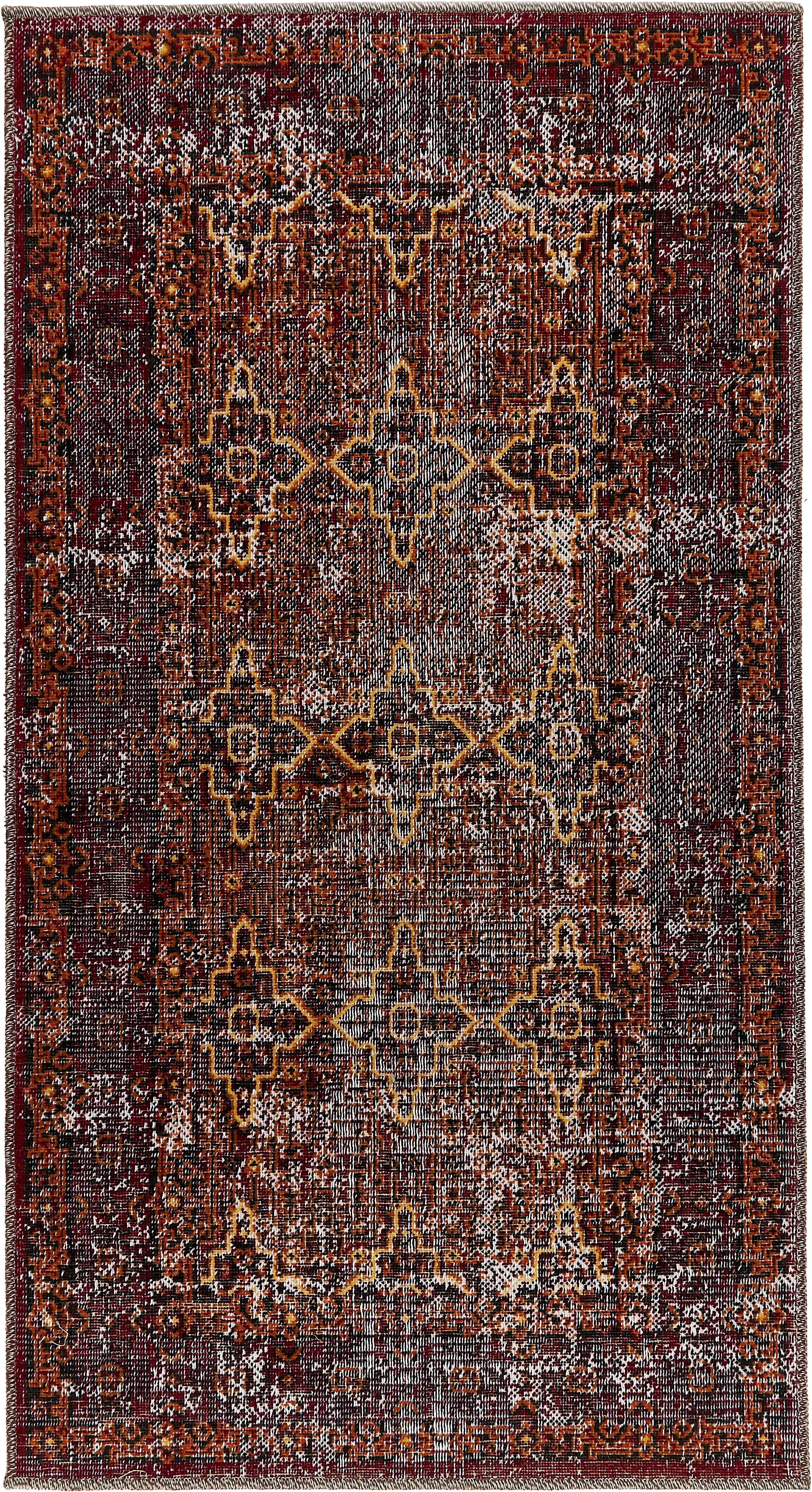 Alfombra de interior/exterior Tilas Izmir, estilo oriental, Rojo oscuro, mostaza, caqui, An 80 x L 150 cm (Tamaño XS)