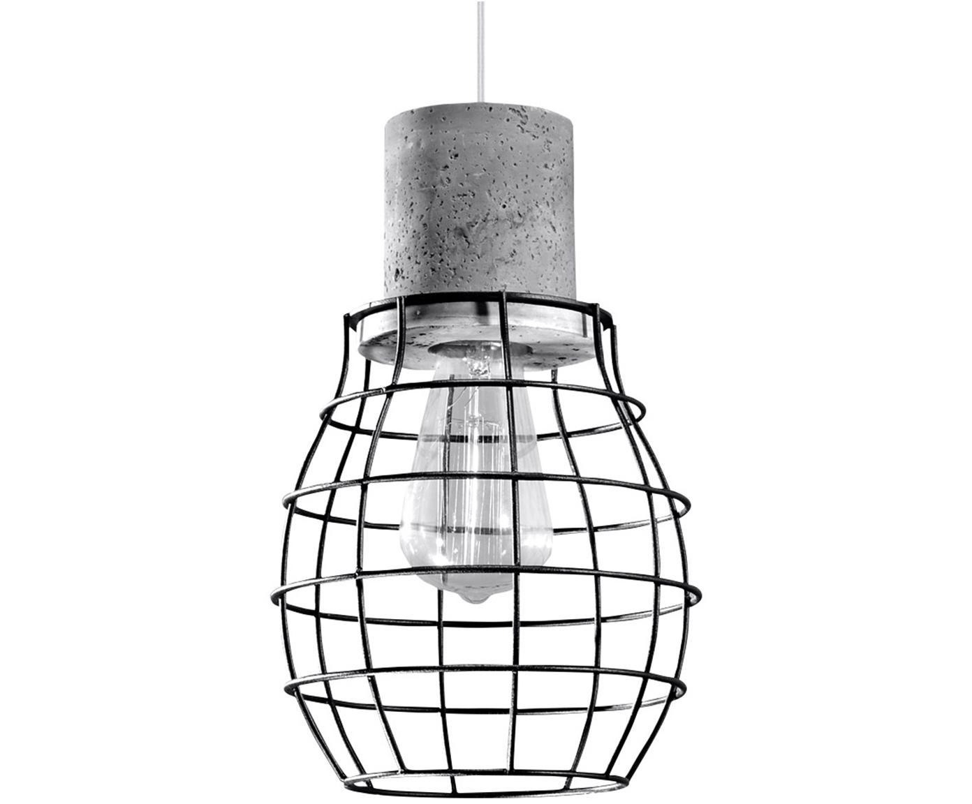 Lampada a sospensione Valerio, Acciaio, cemento, Nero, grigio, Ø 19 x Alt. 100 cm