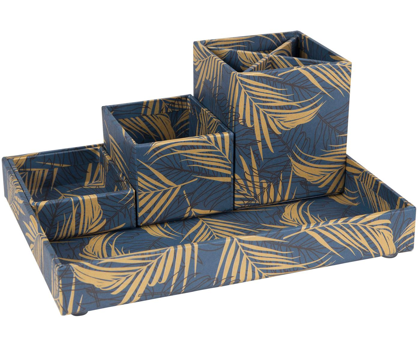Set organizer da ufficio Lena 4 pz, Solido, cartone laminato, Dorato, blu grigio, Diverse dimensioni