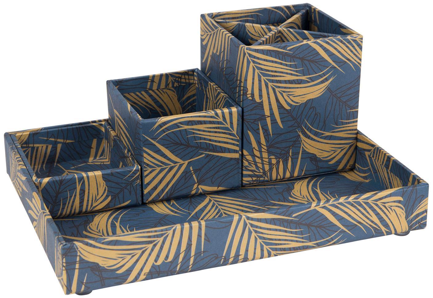 Büro-Organizer-Set Lena, 4-tlg., fester, laminierter Karton, Goldfarben, Graublau, Set mit verschiedenen Grössen