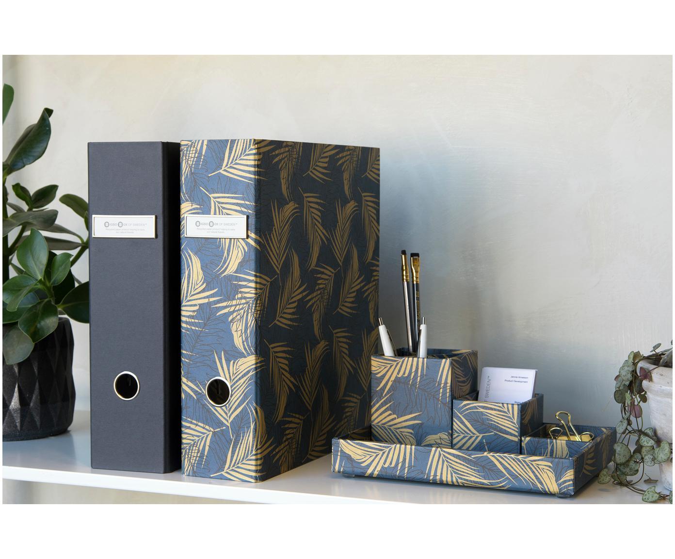 Bureau organizerset Lena, 4-delig, Massief, gelamineerd karton, Goudkleurig, grijsblauw, Verschillende formaten