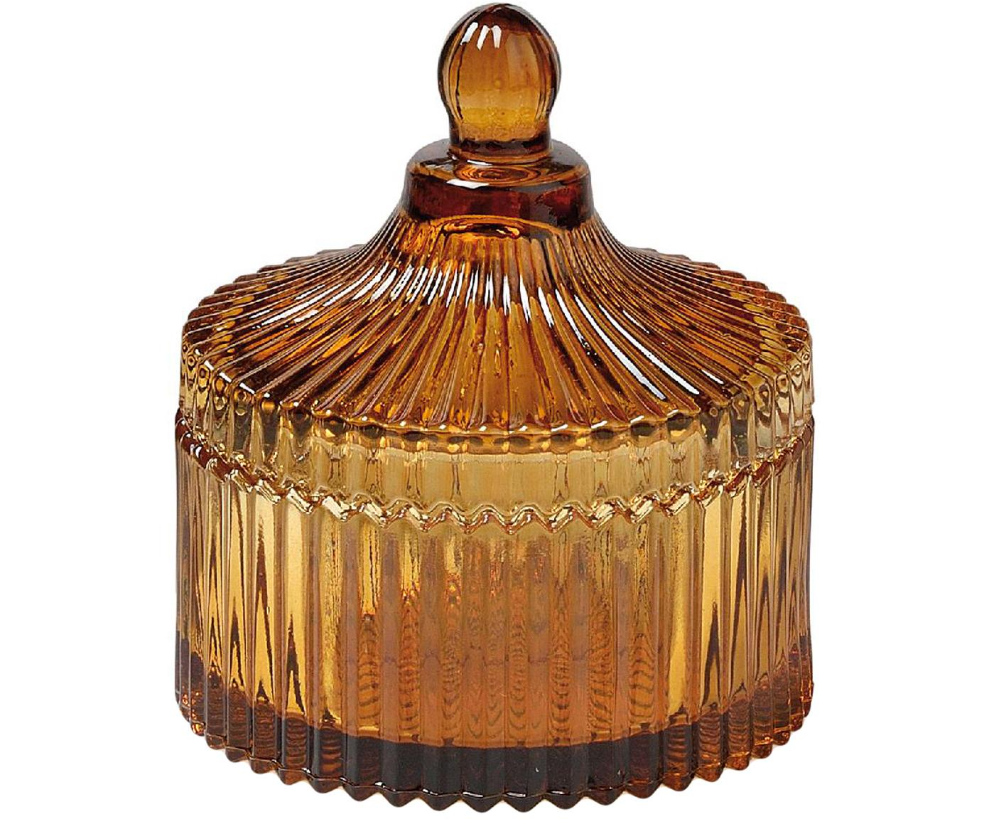 Opbergpot Ionic, Glas, Bruin, Ø 11 x H 12 cm
