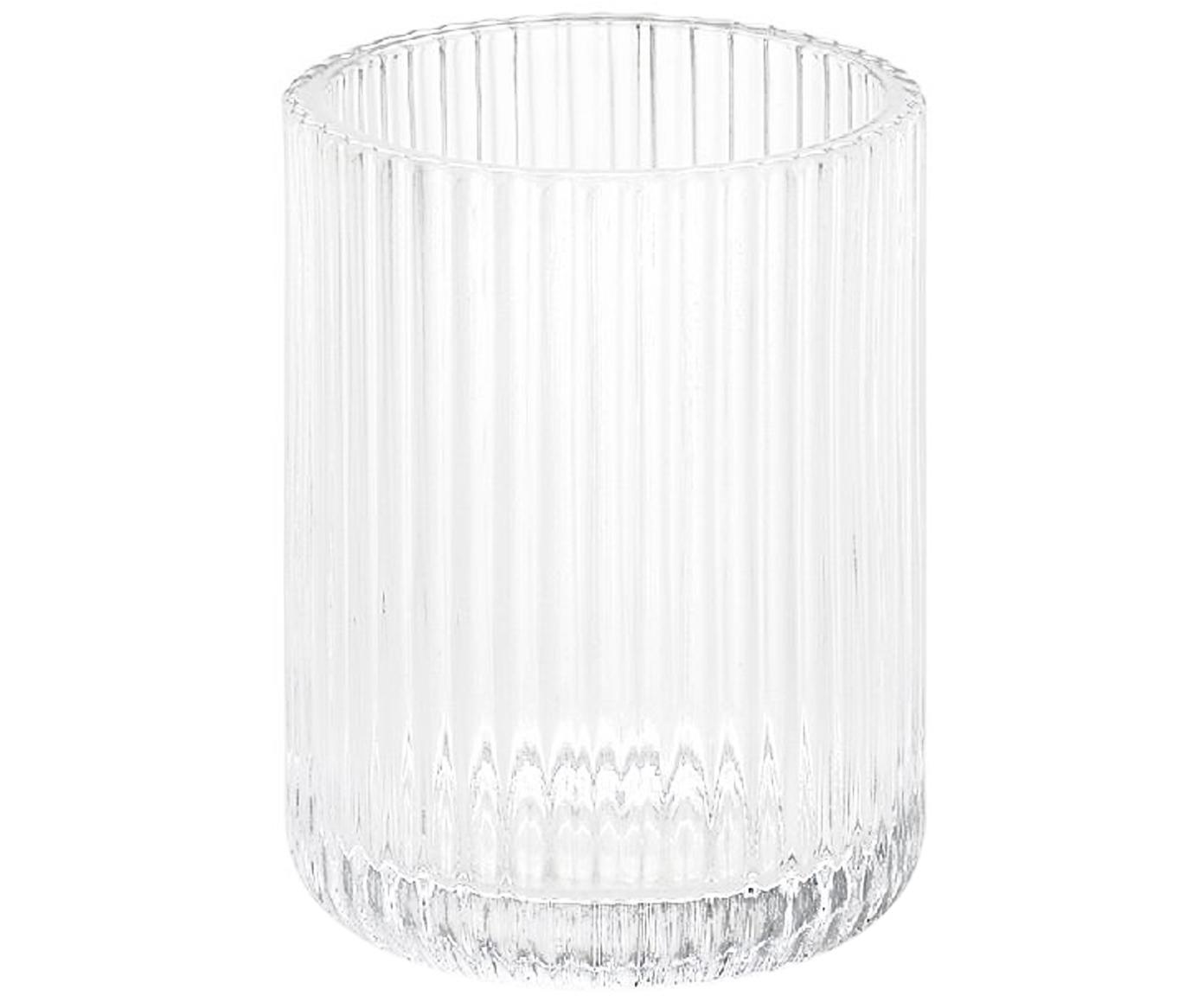 Vaso cepillo de dientes Gulji, Vidrio, Transparente, Ø 7 x Al 10 cm