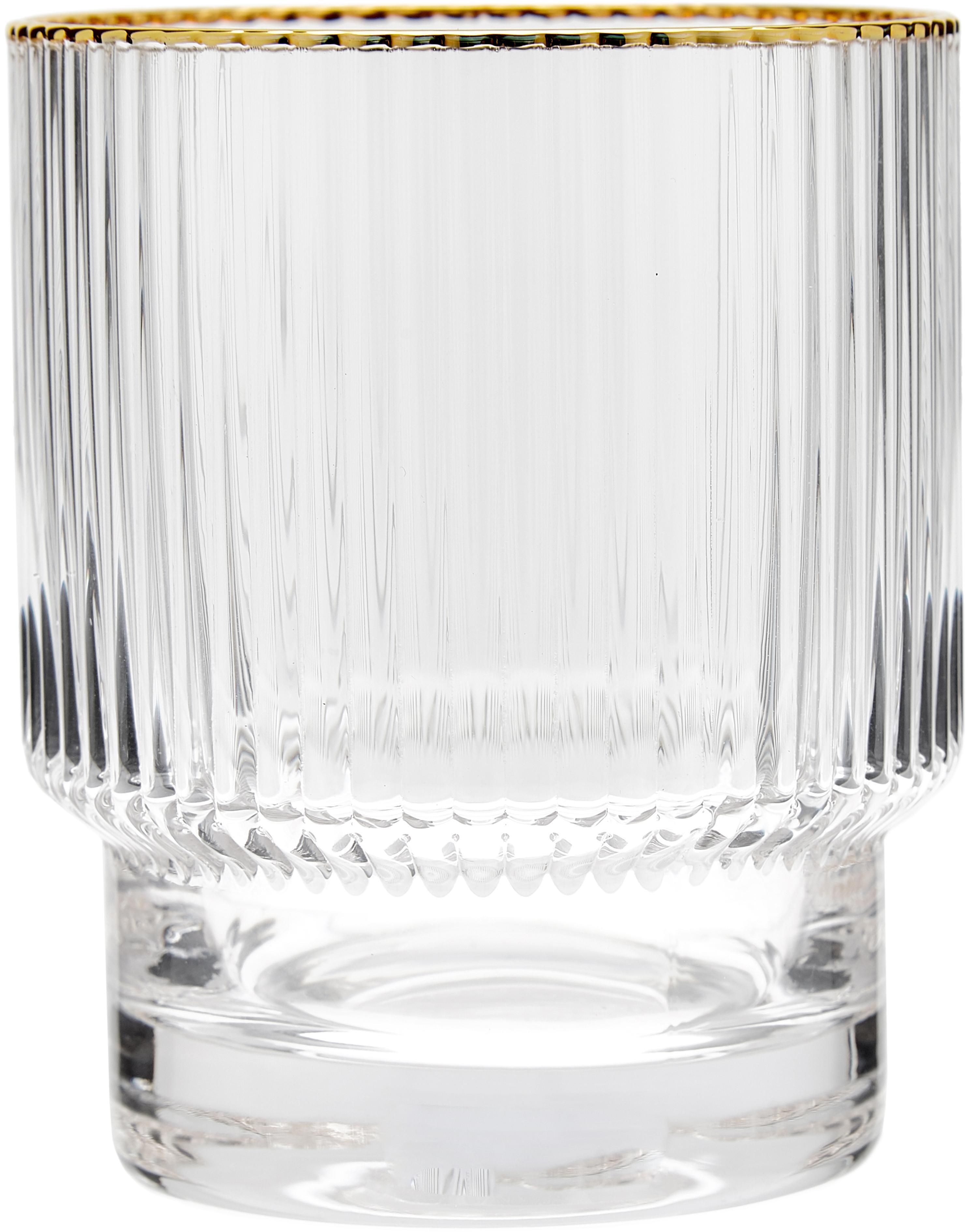 Waterglazen Minna met groefreliëf en gouden rand, 4 stuks, Glas, Transparant, goudkleurig, Ø 8 x H 10 cm