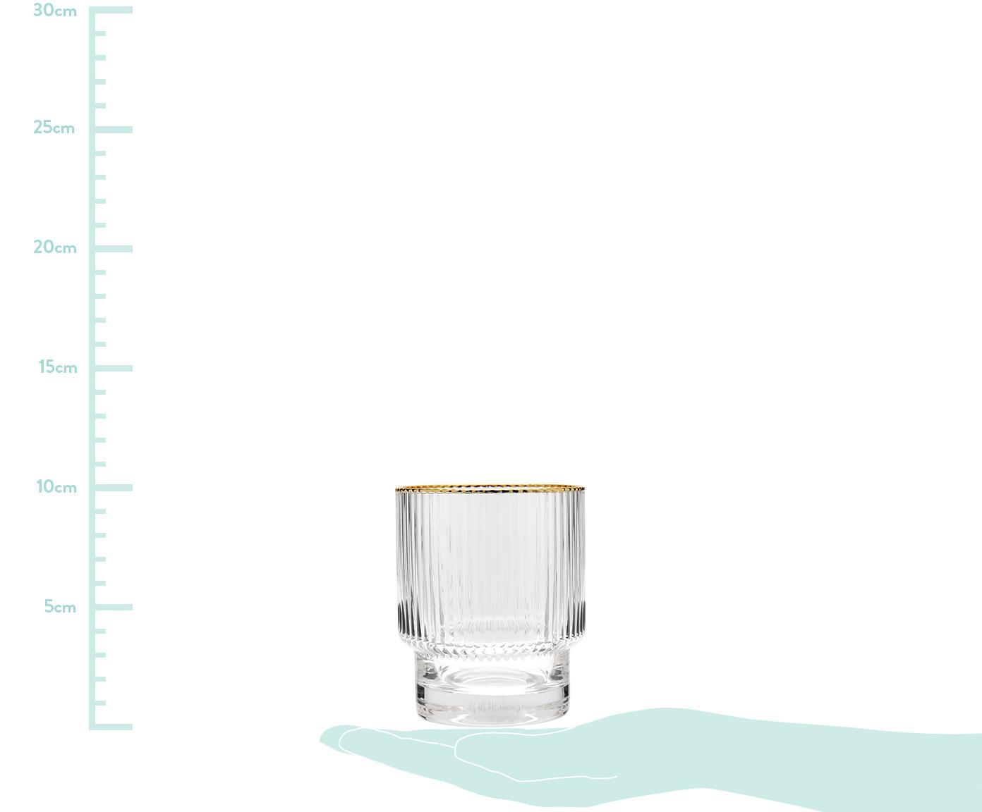 Verre à eau Minna, 4 pièces, Transparent, couleur dorée