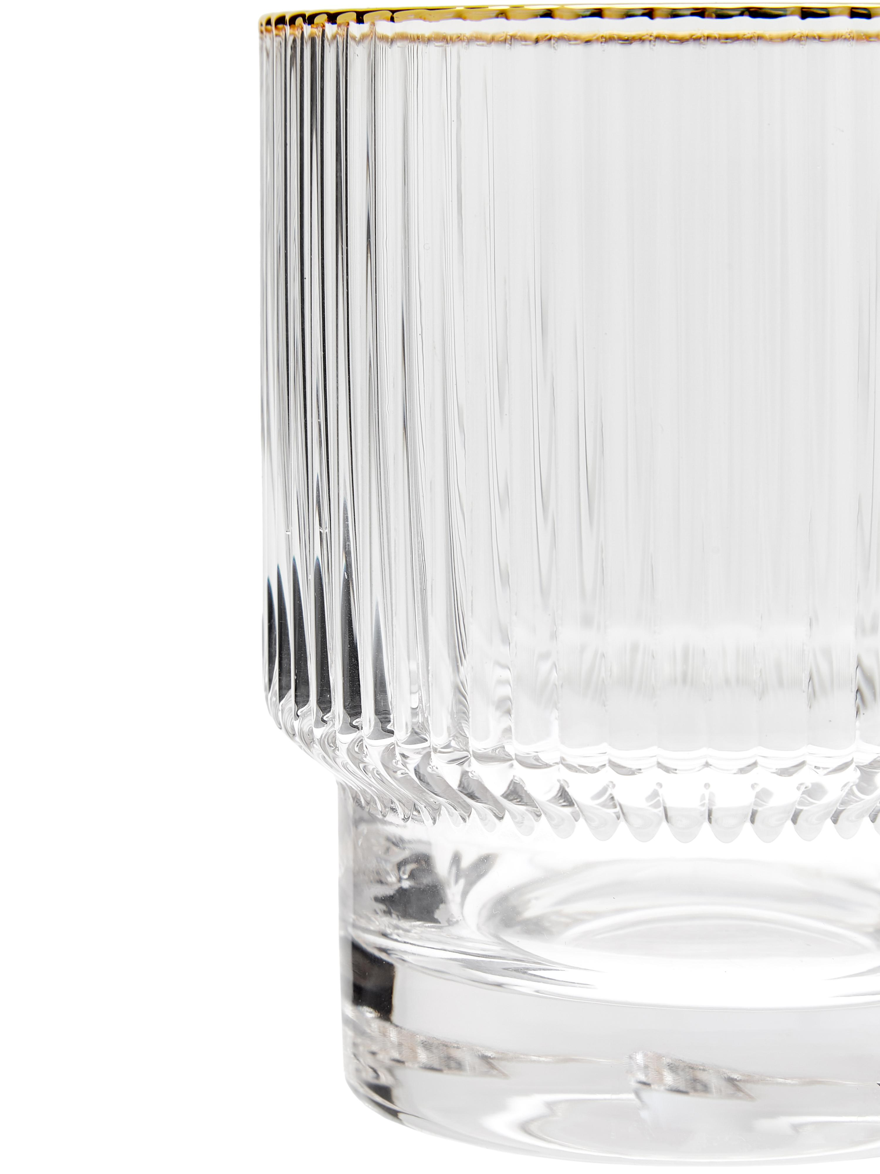 Bicchiere acqua con rilievo e bordo oro Minna 4pz, Bicchiere, Trasparente, dorato, Ø 8 x Alt. 10 cm