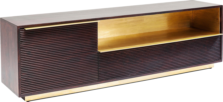 Mobile TV in legno di mango Casino Lounge, Struttura: legno di mango, massiccio, Maniglie: alluminio ottonato, Legno di mango, ottone, Larg. 150 x Alt. 45 cm