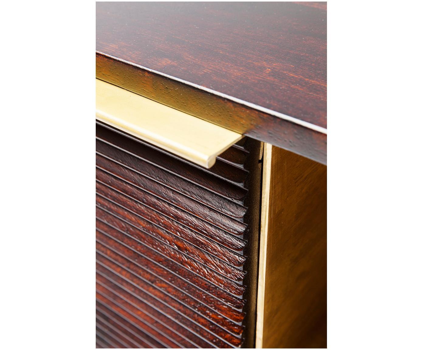 Szafka RTV z drewna mangowego Casino Lounge, Korpus: lite drewno mangowe, laki, Drewno mangowe, odcienie mosiądzu, S 150 x W 45 cm