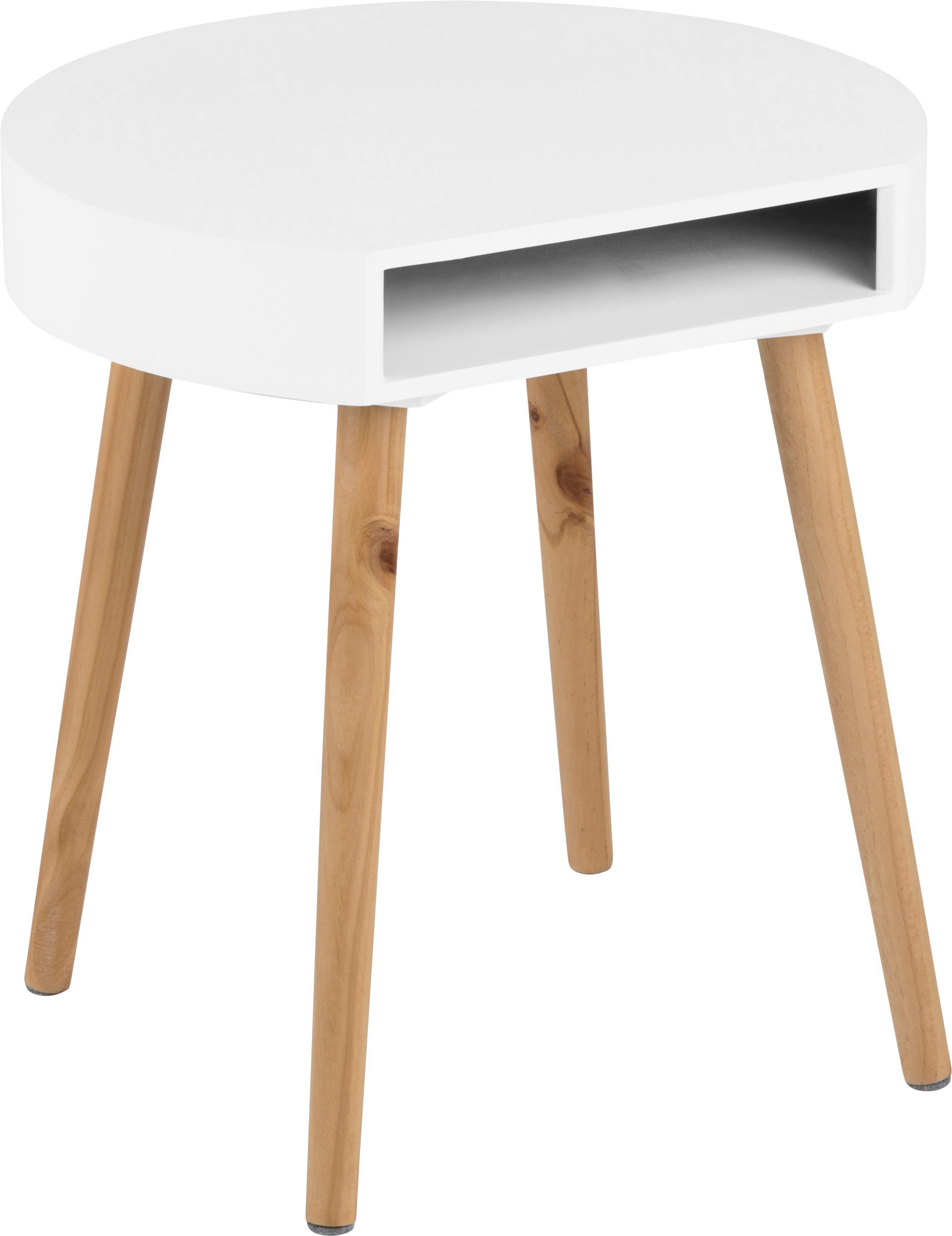 Stolik pomocniczy z miejscem do przechowywania Ela, Drewno lakierowane, Biały, drewno naturalne, S 40 x G 36 cm