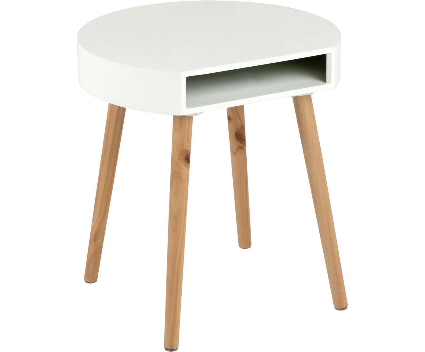 Mesa auxiliar Ela, Madera, pintada, Blanco, madera, An 40 x F 36 cm