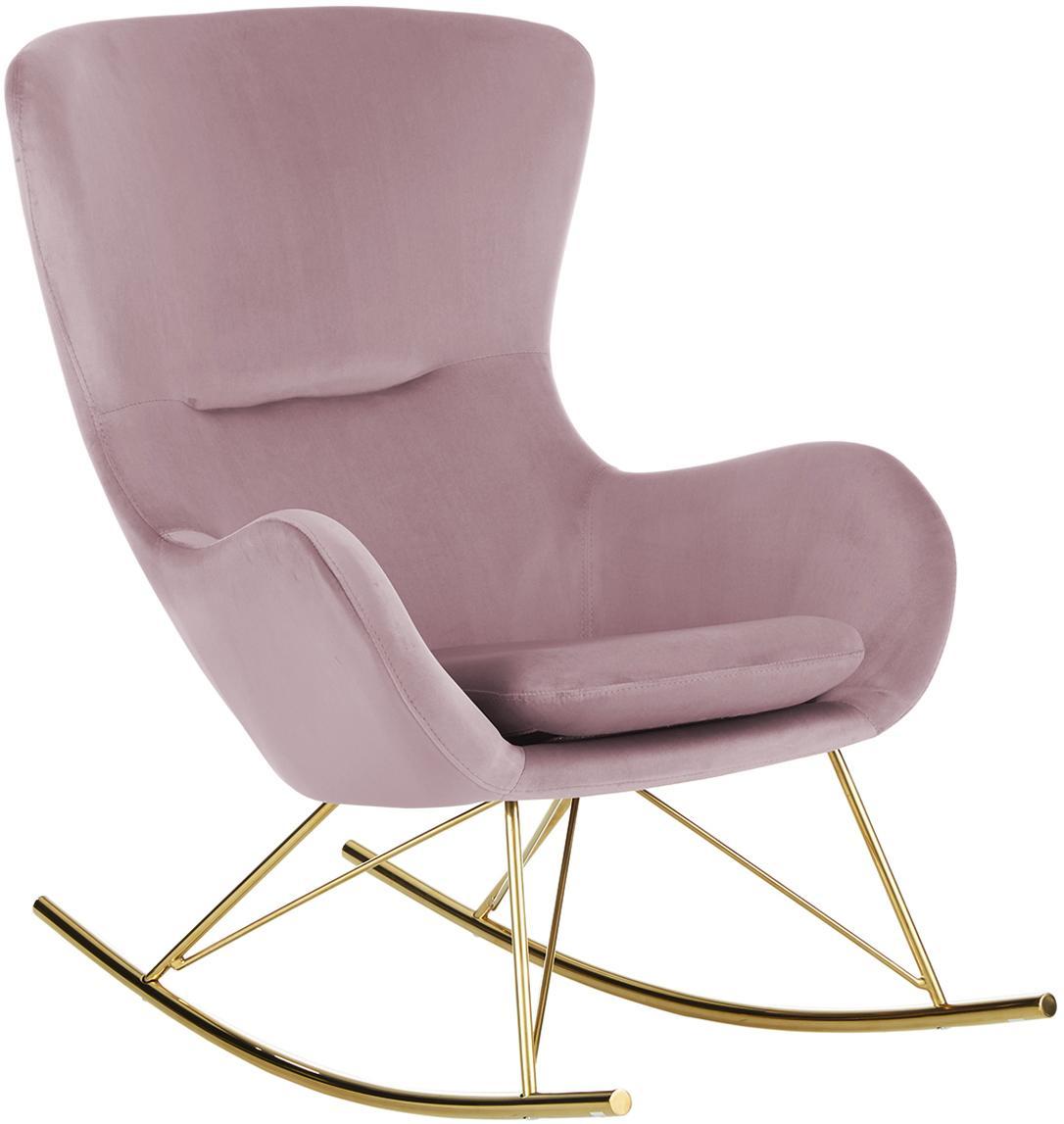 MecedoraWing, Tapizado: terciopelo (poliéster) Al, Estructura: metal galvanizado, Terciopelo rosa, An 66 x F 102 cm