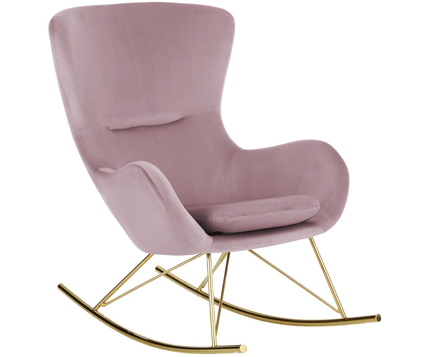 Sedia a dondolo in velluto Wing, Rivestimento: velluto (poliestere) 15.0, Struttura: metallo zincato, Velluto rosa, Larg. 77 x Prof. 96 cm
