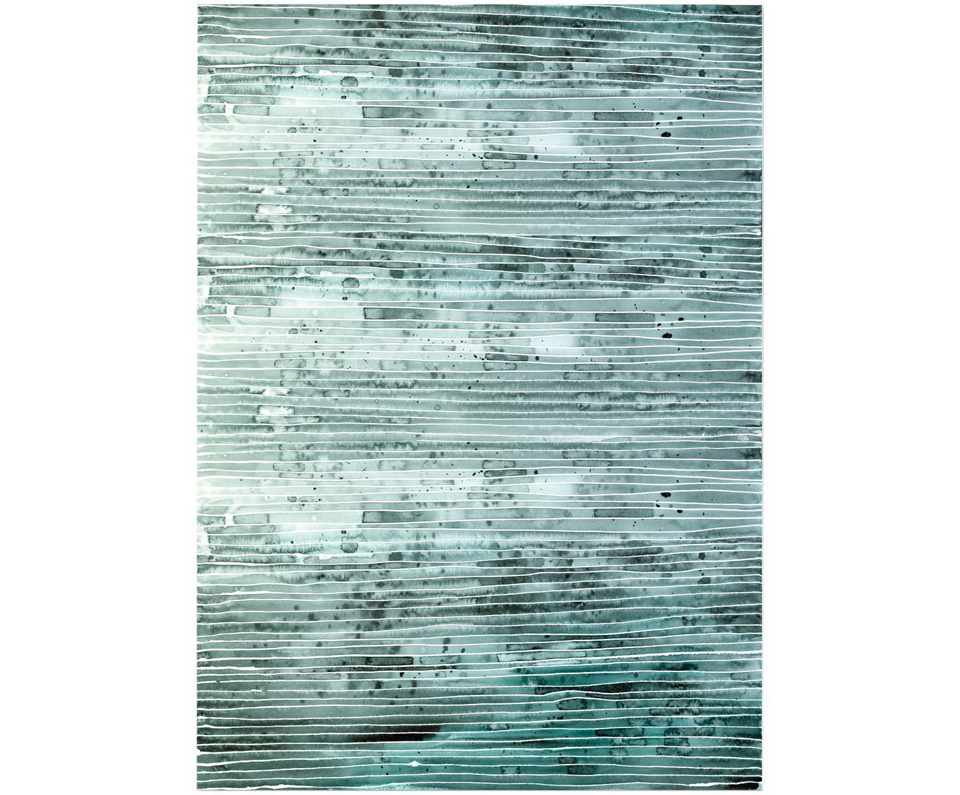 Cadeaupapier Green Lines, 3 rollen, Papier, Groen, wit, 50 x 70 cm