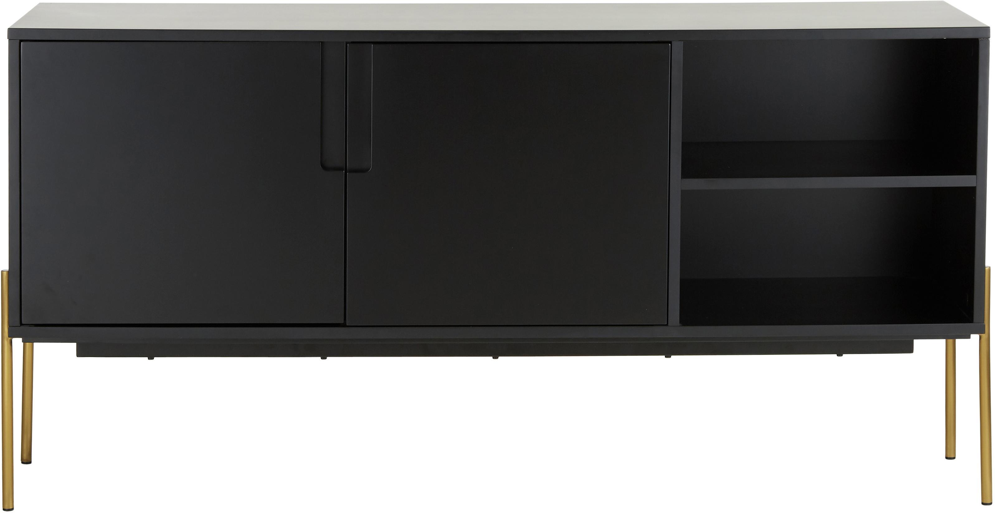 Zwart dressoir Jesper met deuren, Frame: MDF met melaminecoating, Poten: gelakt metaal, Frame: zwart. Poten: glanzend goudkleurig, 160 x 80 cm