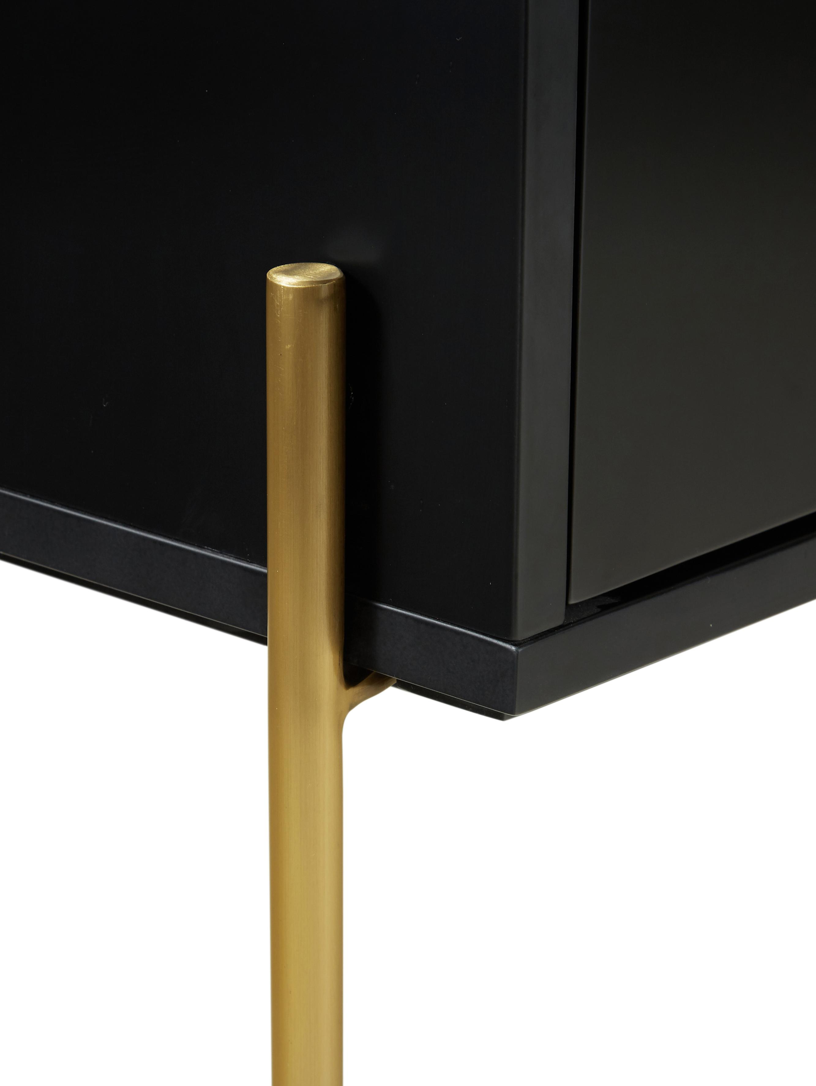 Schwarzes Sideboard Jesper mit Türen, Korpus: Mitteldichte Holzfaserpla, Füße: Metall, lackiert, Korpus: SchwarzFüße: Goldfarben, glänzend, 160 x 80 cm