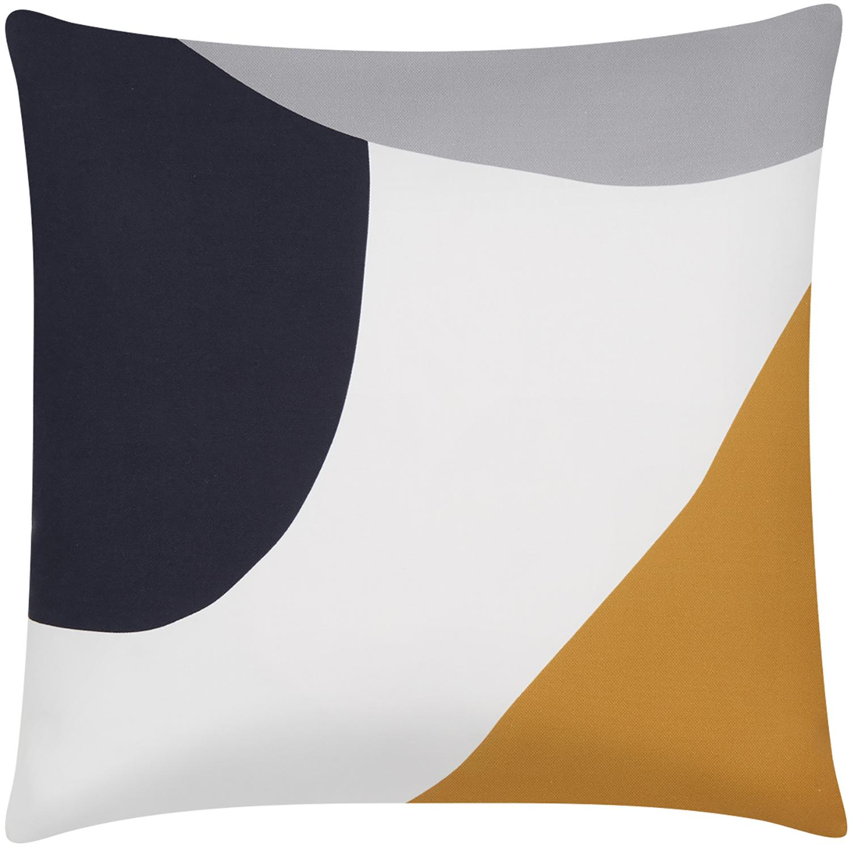 Kissenhülle Linn mit geometrischen Formen, Webart: Panama, Weiß, Mehrfarbig, 40 x 40 cm