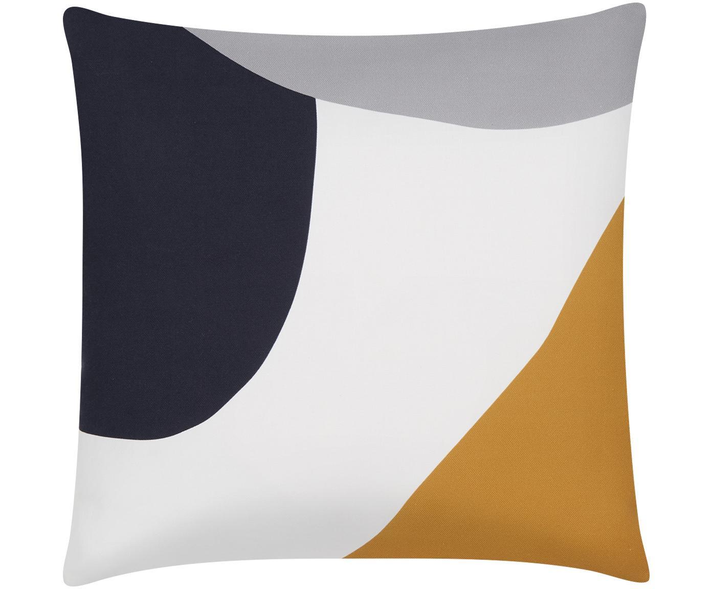 Federa arredo con forme geometriche Linn, Tessuto: Panama, Bianco, multicolore, Larg. 40 x Lung. 40 cm