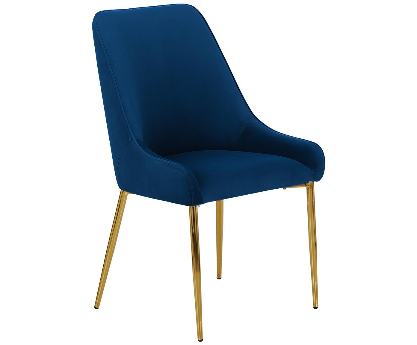 Samt-Polsterstuhl Ava mit goldfarbenen Beinen, Bezug: Samt (100% Polyester) 50., Beine: Metall, galvanisiert, Dunkelblau, B 53 x T 60 cm