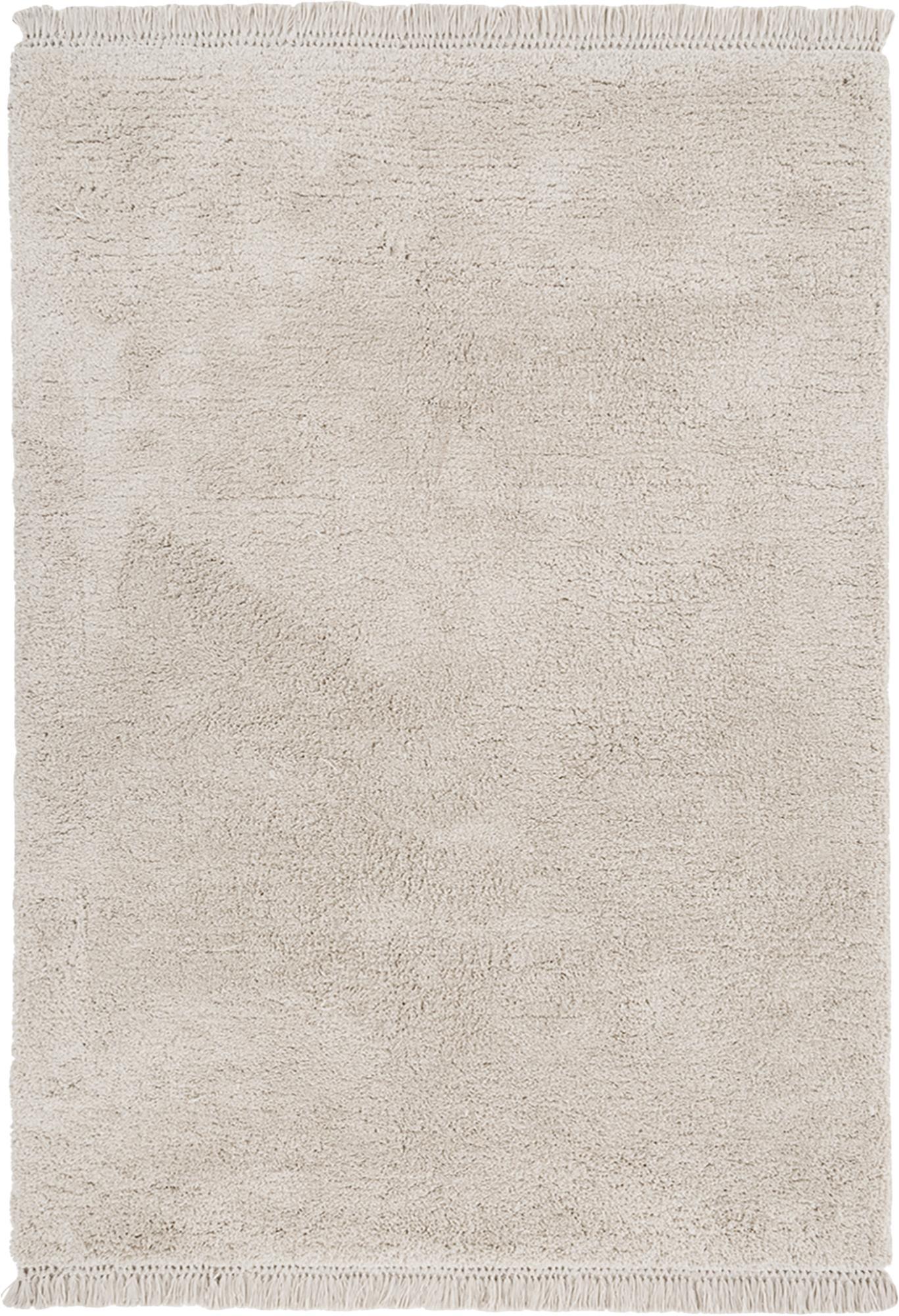 Flauschiger Hochflor-Teppich Dreamy mit Fransen, Flor: 100% Polyester, Creme, B 120 x L 180 cm (Grösse S)