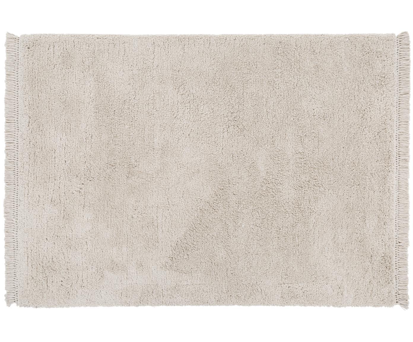 Pluizig hoogpolig vloerkleed Dreamy met franjes, Bovenzijde: 100% polyester, Onderzijde: 100% katoen, Crèmekleurig, 120 x 180 cm
