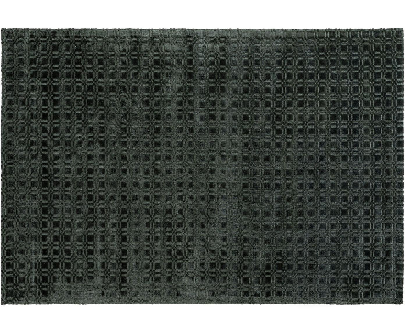 Handgeweven viscose vloerkleed Nelson, pluizig glanzend, Viscose, Donkergroen, B 140 x L 200 cm (maat S)