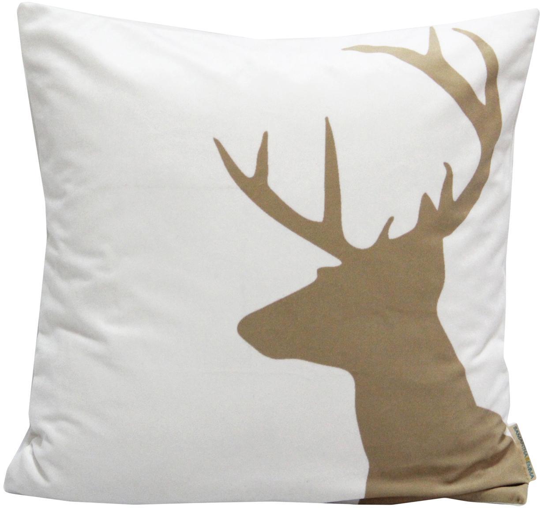 Federa arredo in velluto Reindeer, Velluto di poliestere, Bianco, marrone, Larg. 45 x Lung. 45 cm