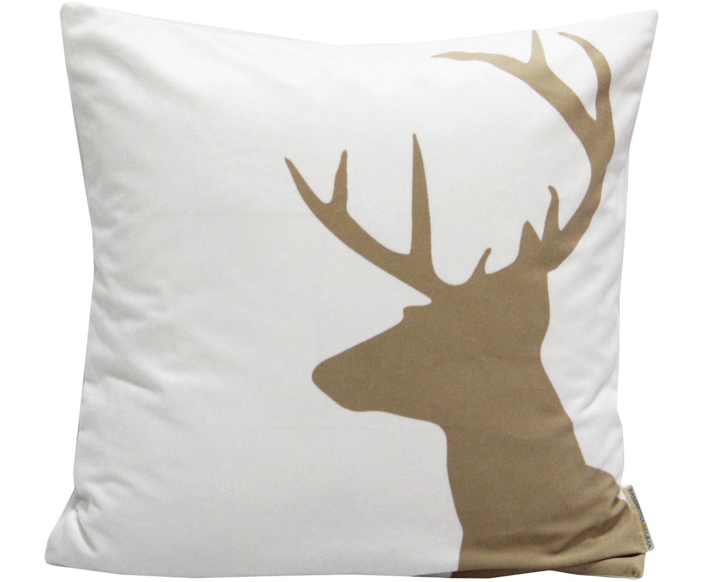 Samt-Kissenhülle Reindeer, Polyestersamt, Weiß, Braun, 45 x 45 cm