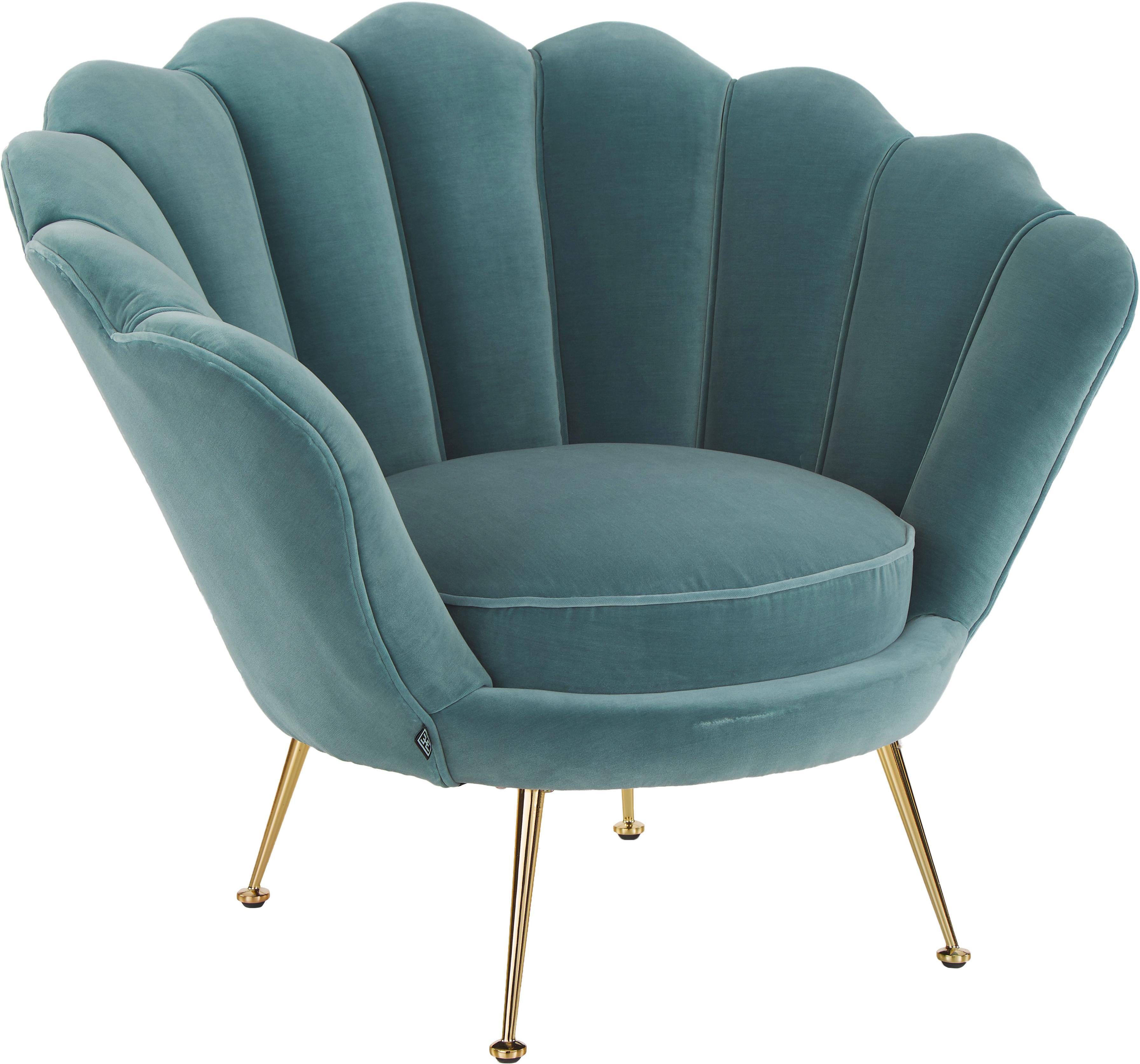 Fotel z aksamitu Trapezium, Tapicerka: 95%poliester, 5%bawełna, Nogi: metal powlekany, Aksamitny turkusowy, S 97 x G 79 cm