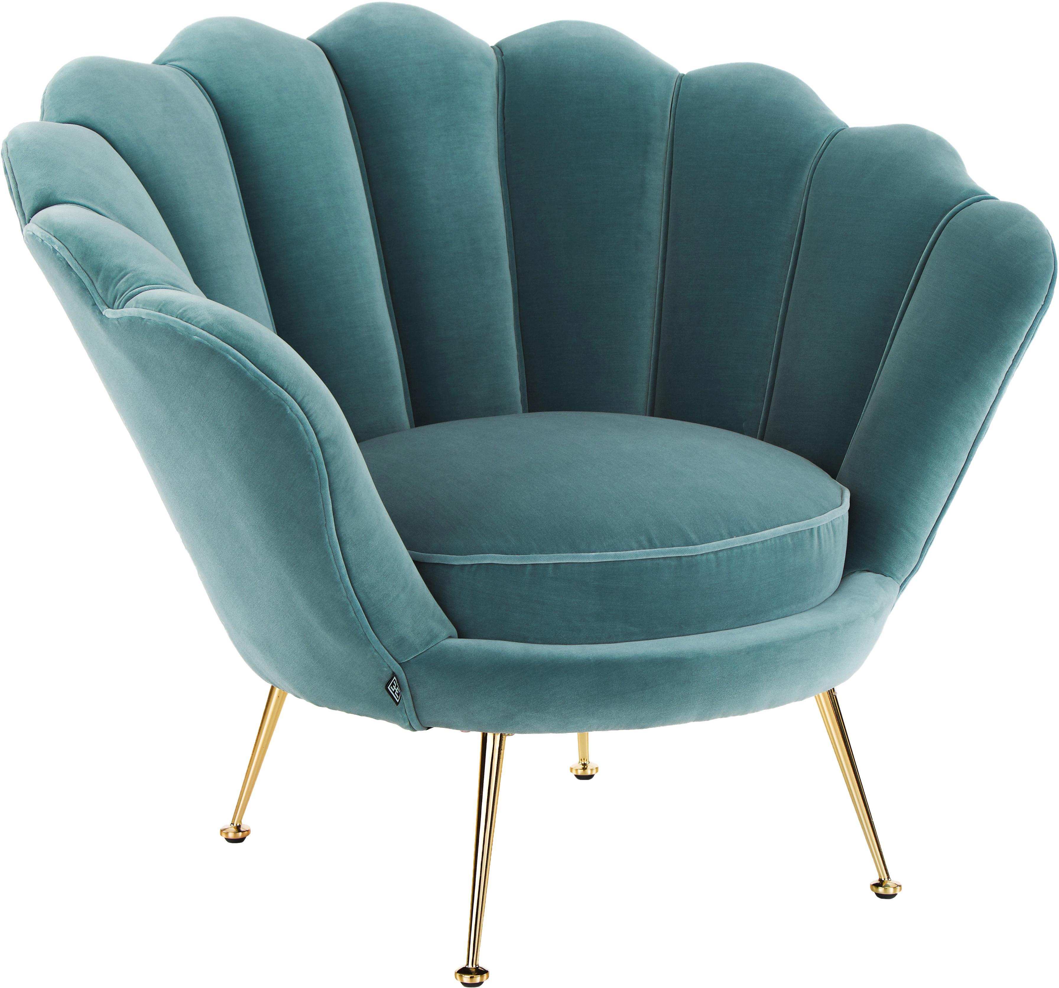 Samt-Sessel Trapezium in Türkis, Bezug: 95% Polyester, 5% Baumwol, Füße: Metall, beschichtet, Samt Türkis, B 97 x T 79 cm