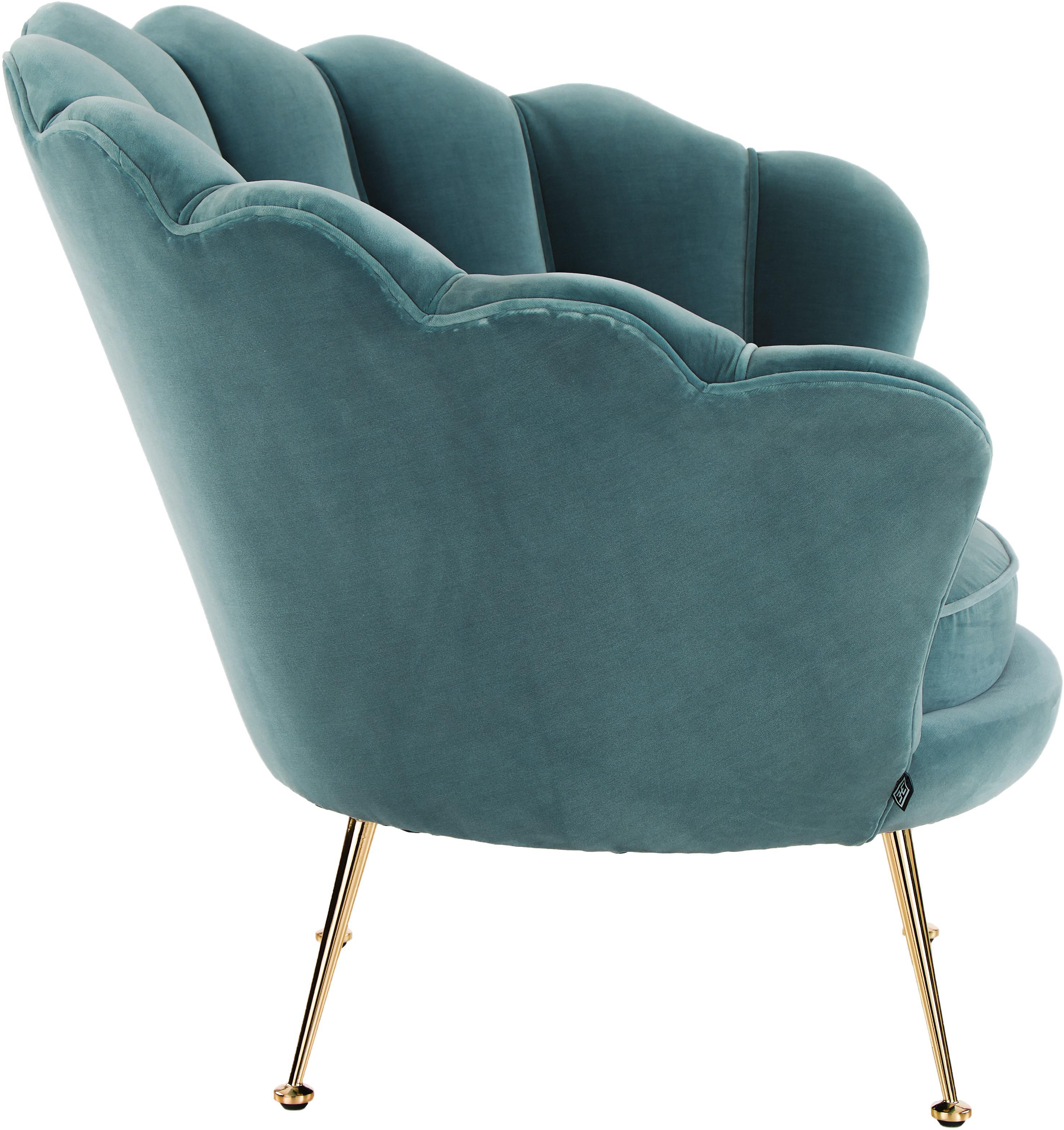 Fluwelen fauteuil Trapezium in turquoise, Bekleding: 95% polyester, 5% katoen , Poten: gecoat metaal, Fluweel turquoise, B 97 x D 79 cm