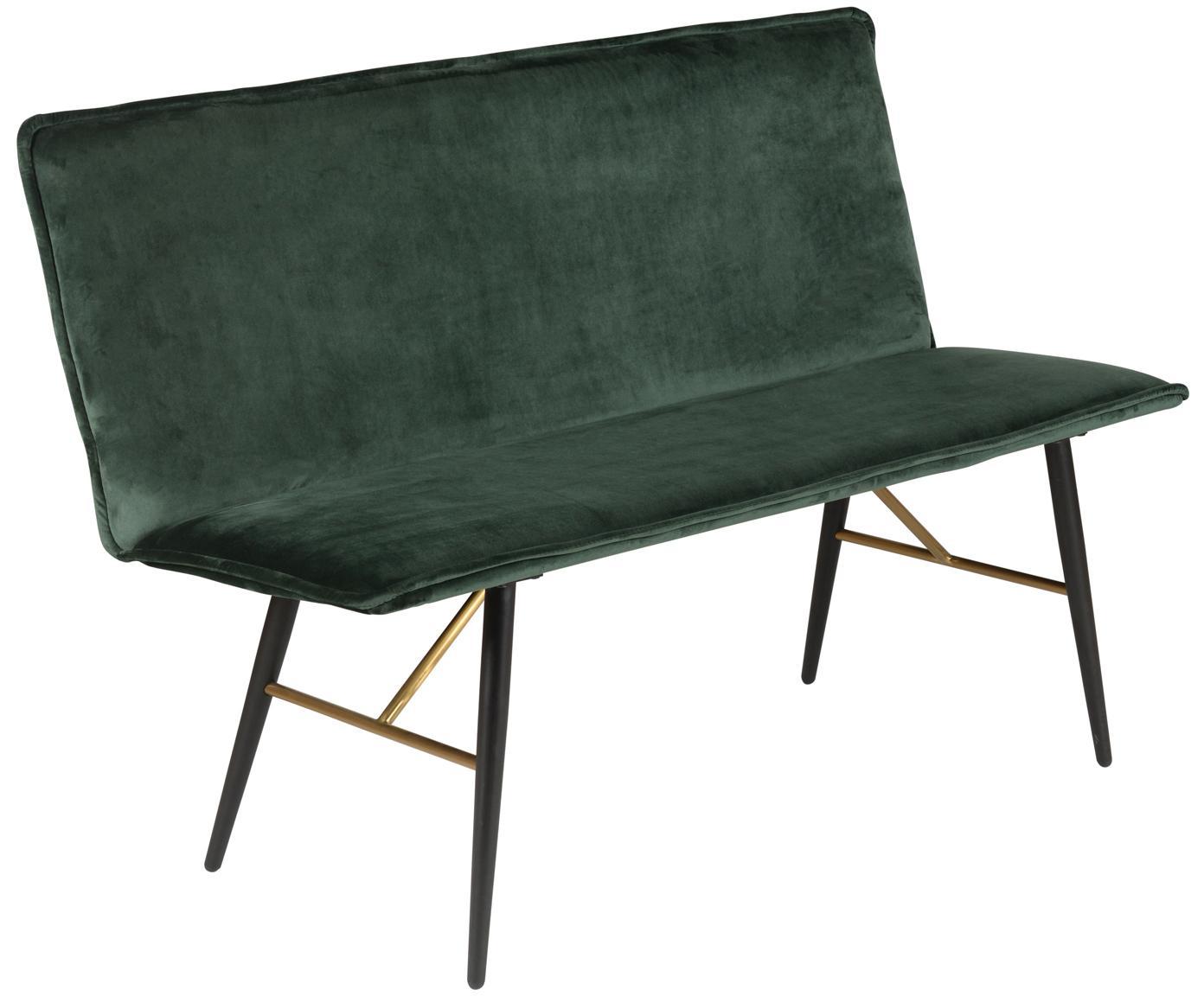 Panca in velluto con schienale Verona, Rivestimento: velluto di poliestere 45., Verde, nero, Larg. 134 x Prof. 55 cm