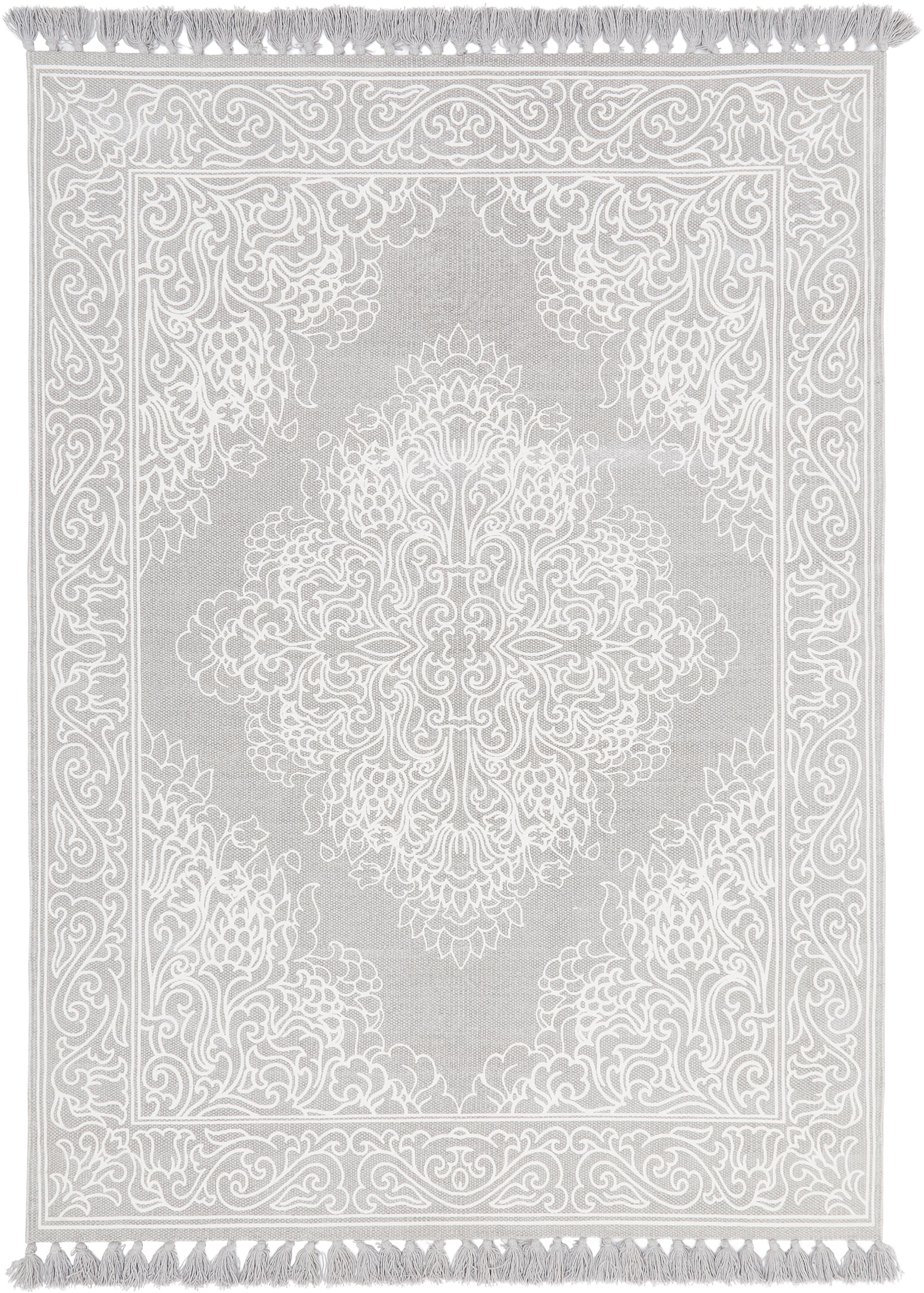 Tappeto in cotone tessuto a mano Salima, 100% cotone, Grigio chiaro, bianco crema, Larg. 200 x Lung. 300 cm (taglia L)