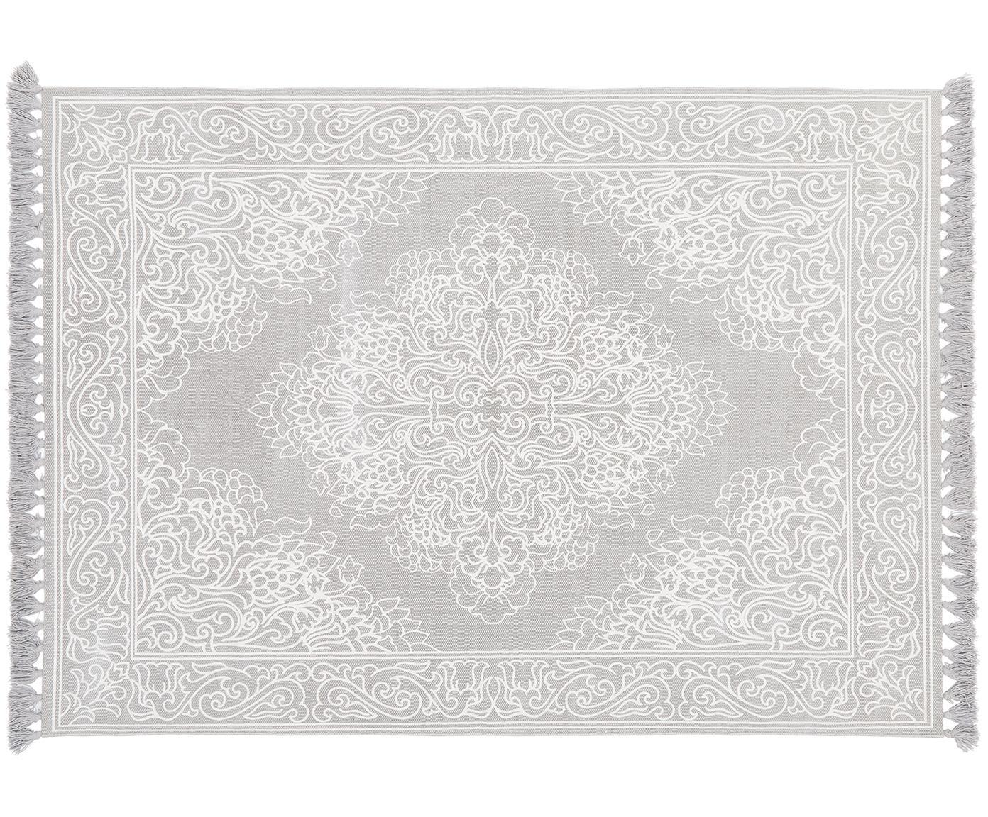 Ręcznie tkany dywan z bawełny z chwostami Salima, Bawełna, Jasny szary, kremowobiały, S 160 x D 230 cm (Rozmiar M)