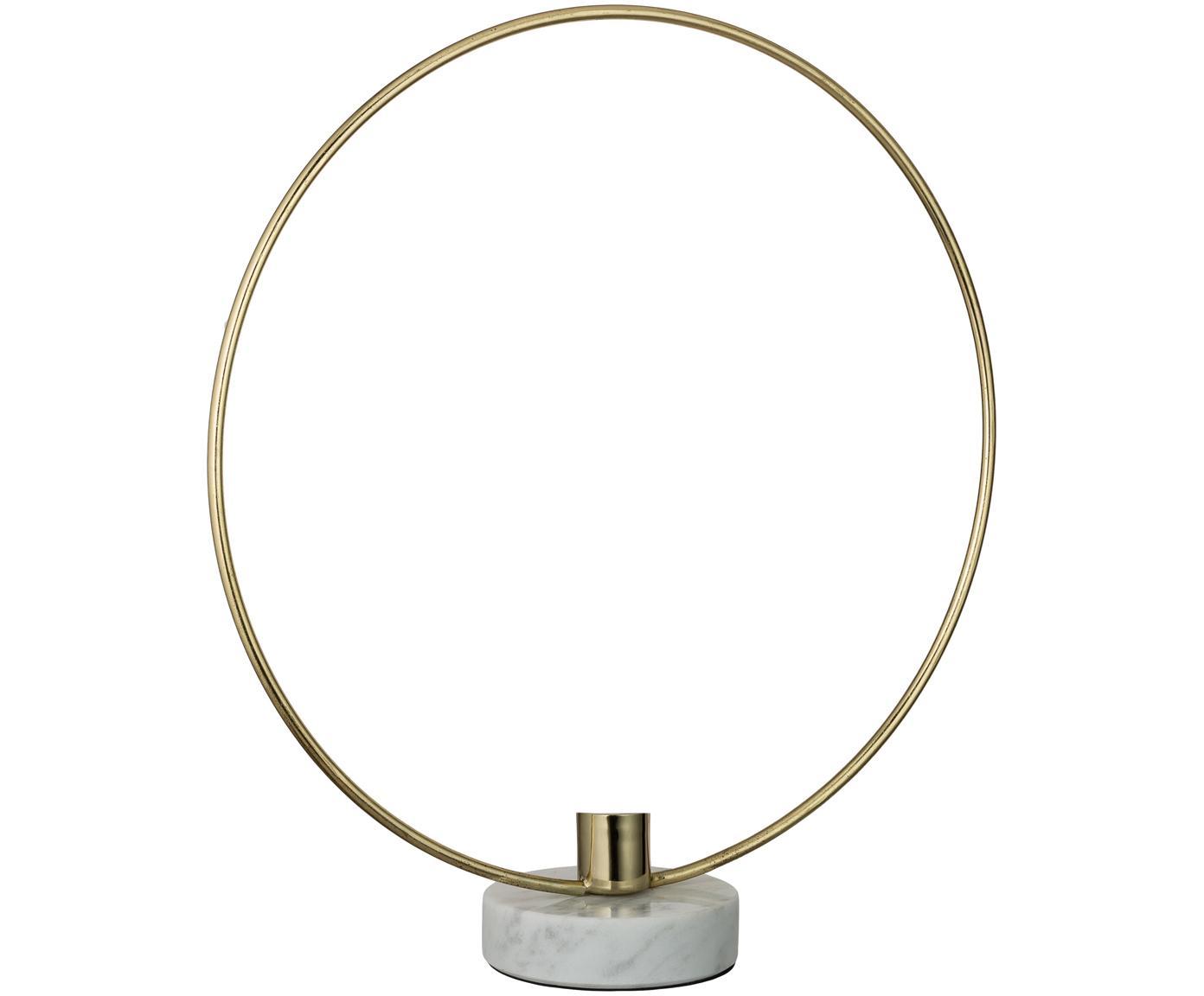 Świecznik Ring, Nogi: marmur, Odcienie złotego, biały, S 28 x W 30 cm