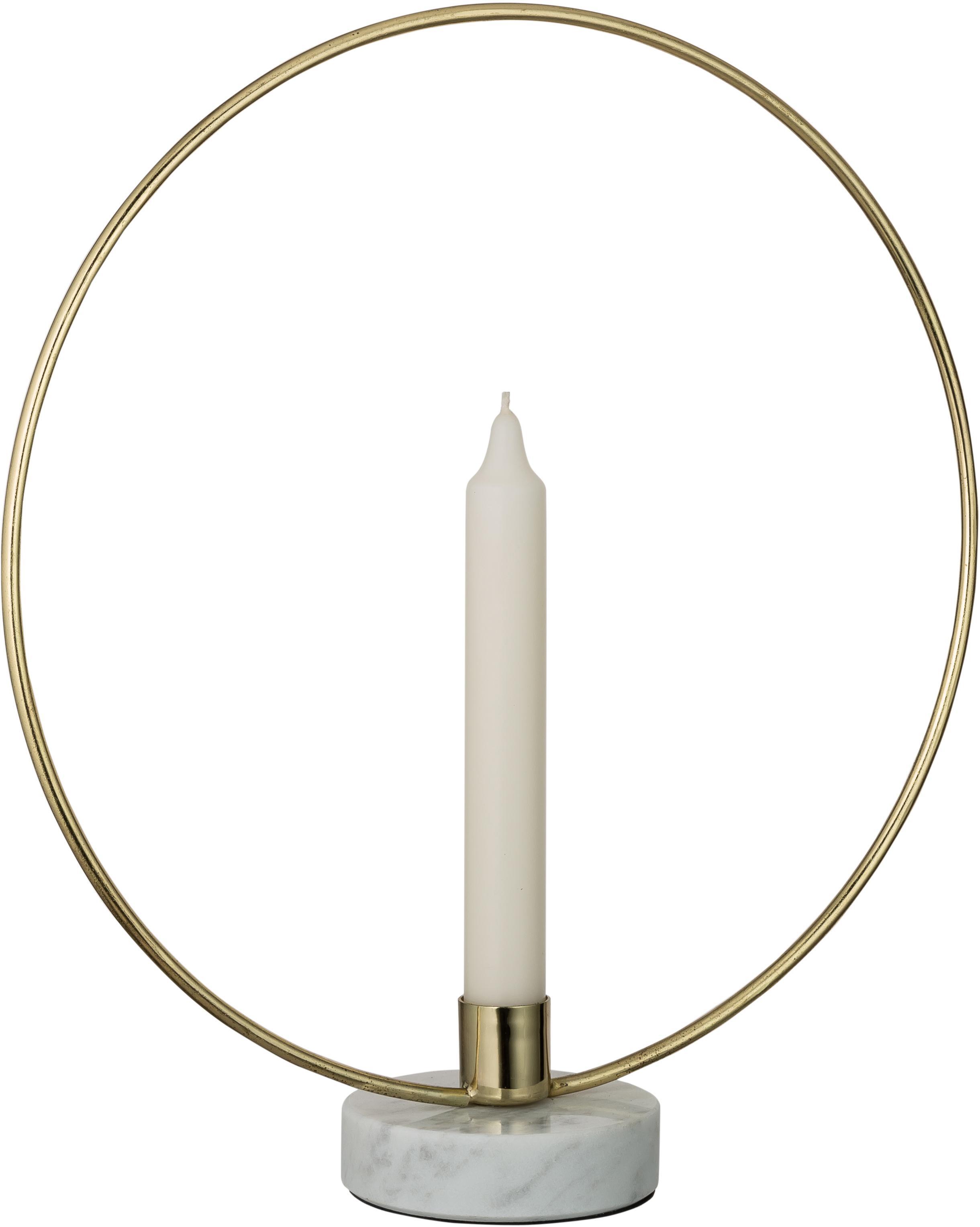Candelabro Ring, Candelabro: metallo rivestito, Gambo: marmo, Dorato , bianco, Larg. 28 x Alt. 30 cm