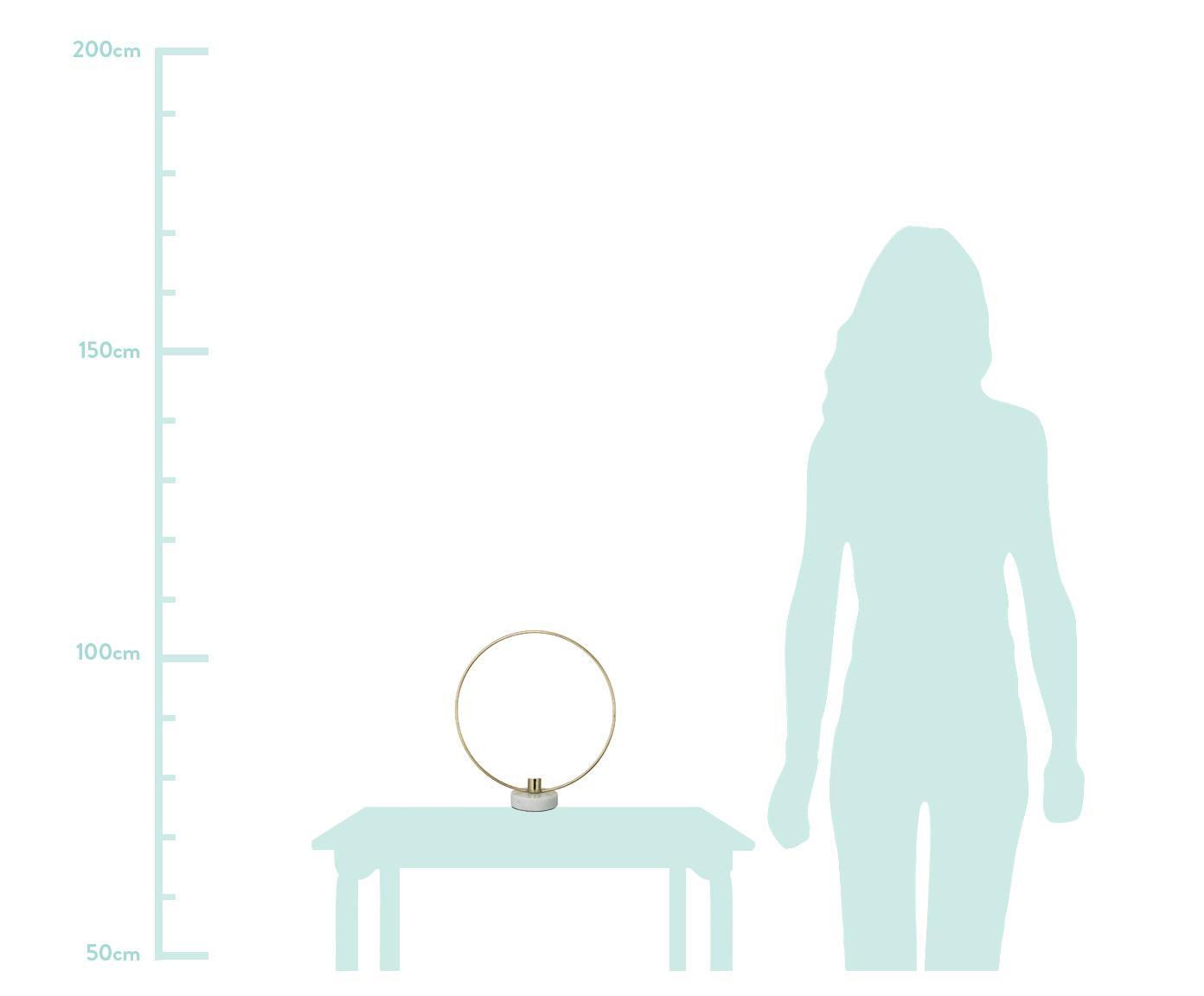 Kerzenhalter Ring, Kerzenhalter: Metall, beschichtet, Fuß: Marmor, Goldfarben, Weiß, 28 x 30 cm