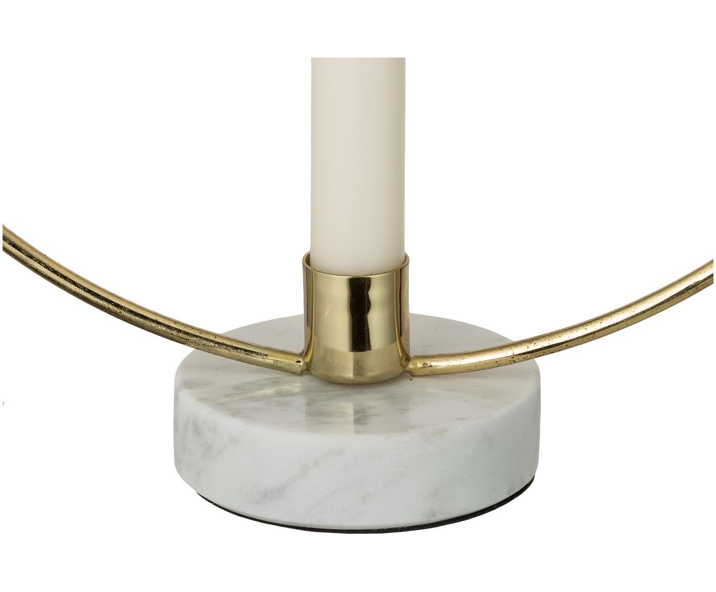 Kandelaar Ring, Voet: marmer, Goudkleurig, wit, 28 x 30 cm