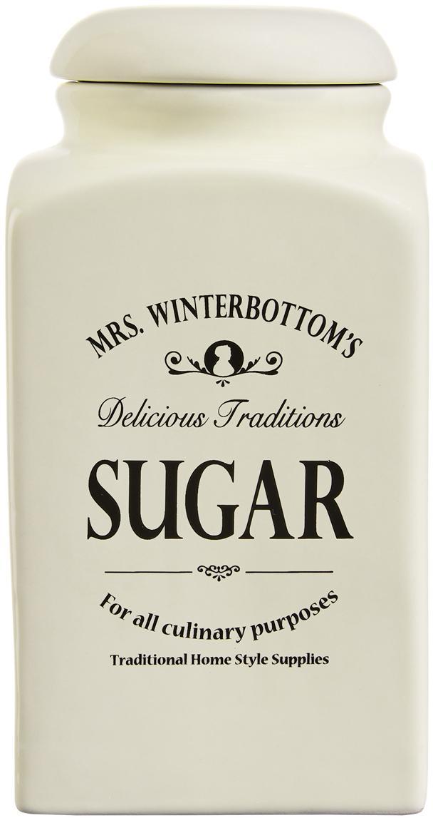 Opbergpot Mrs Winterbottoms Sugar, Keramiek, Crèmekleurig, zwart, Ø 11 cm