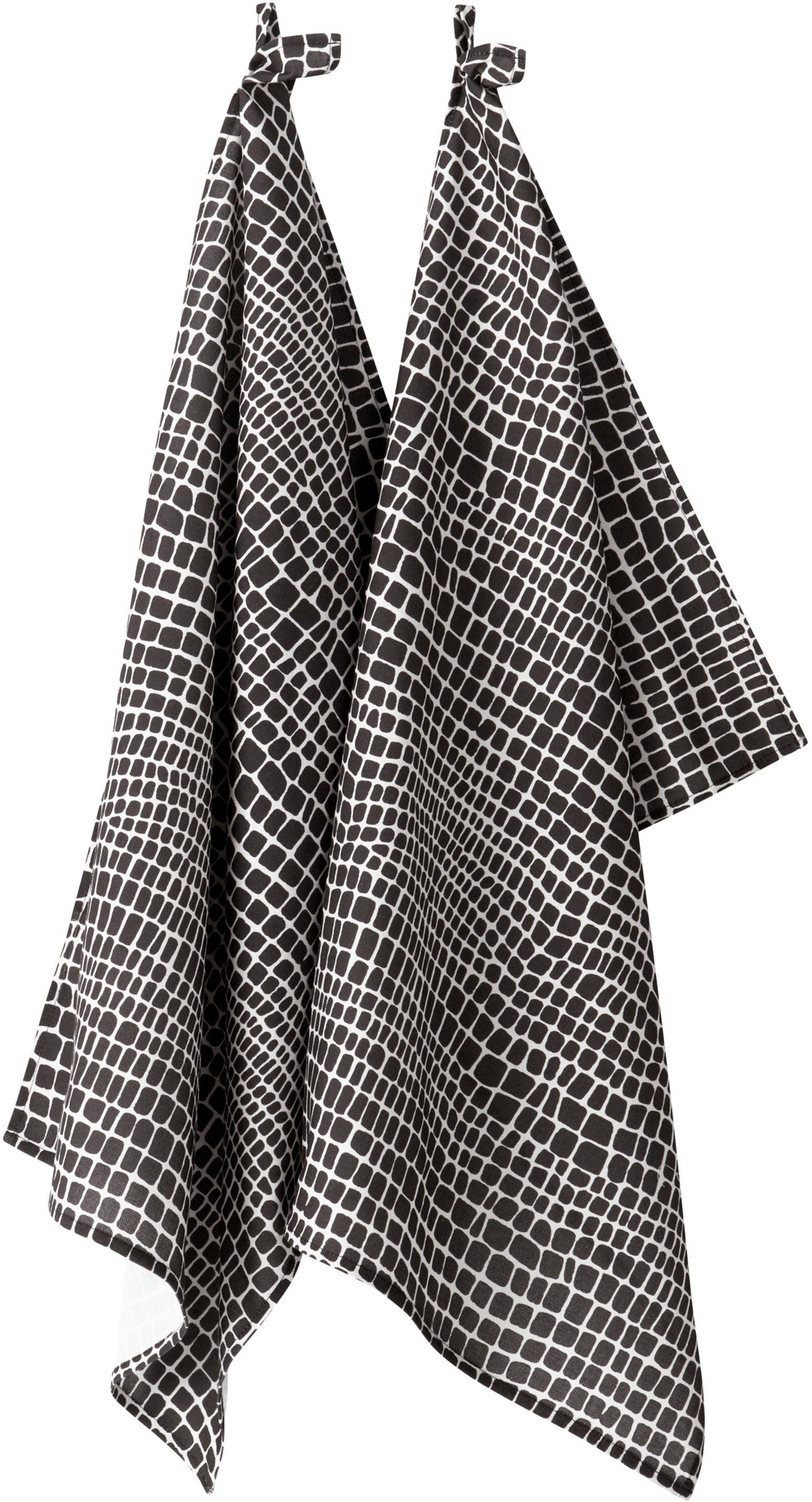 Ręcznik kuchenny Penelope, 2 szt., 100% bawełna pochodząca ze zrównoważonych upraw, Czarny, biały, D 50 x S 70 cm